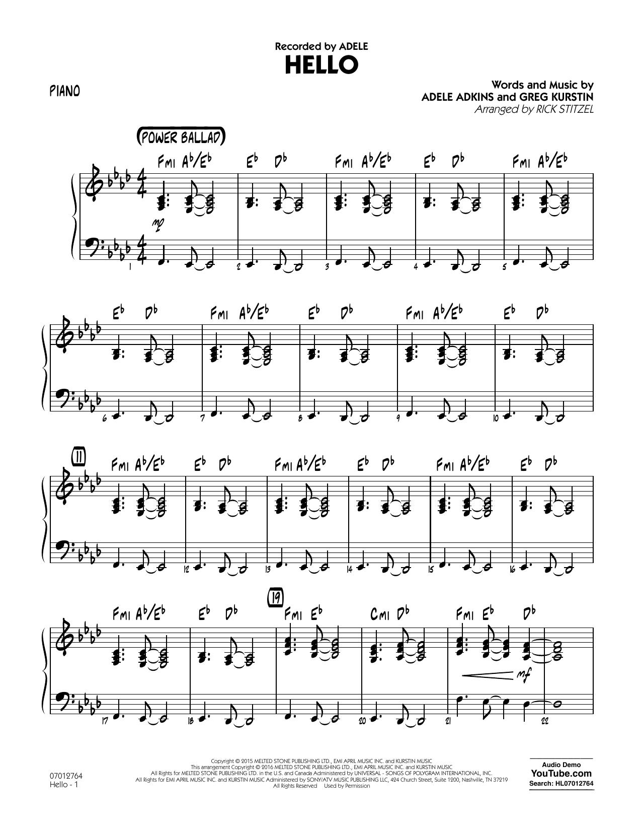 Hello - Piano (Jazz Ensemble)