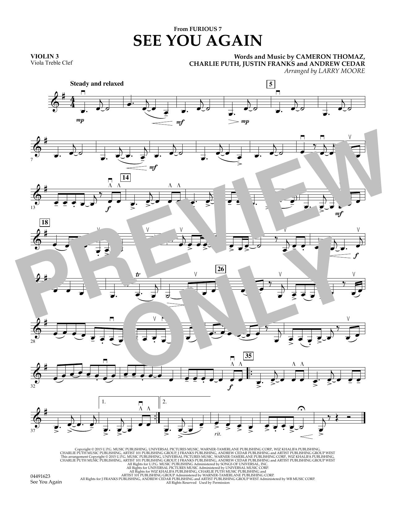 See You Again - Violin 3 (Viola Treble Clef) (Orchestra)