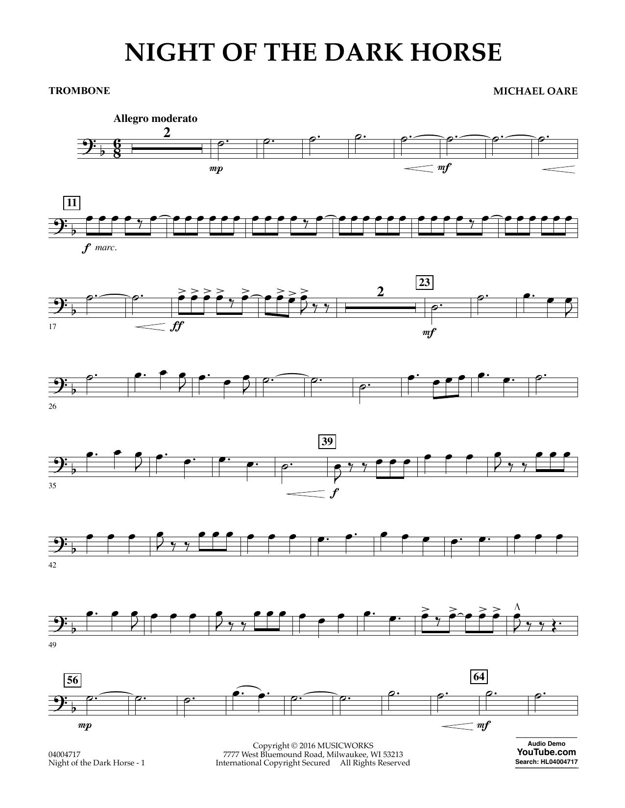 Night of the Dark Horse - Trombone (Concert Band)