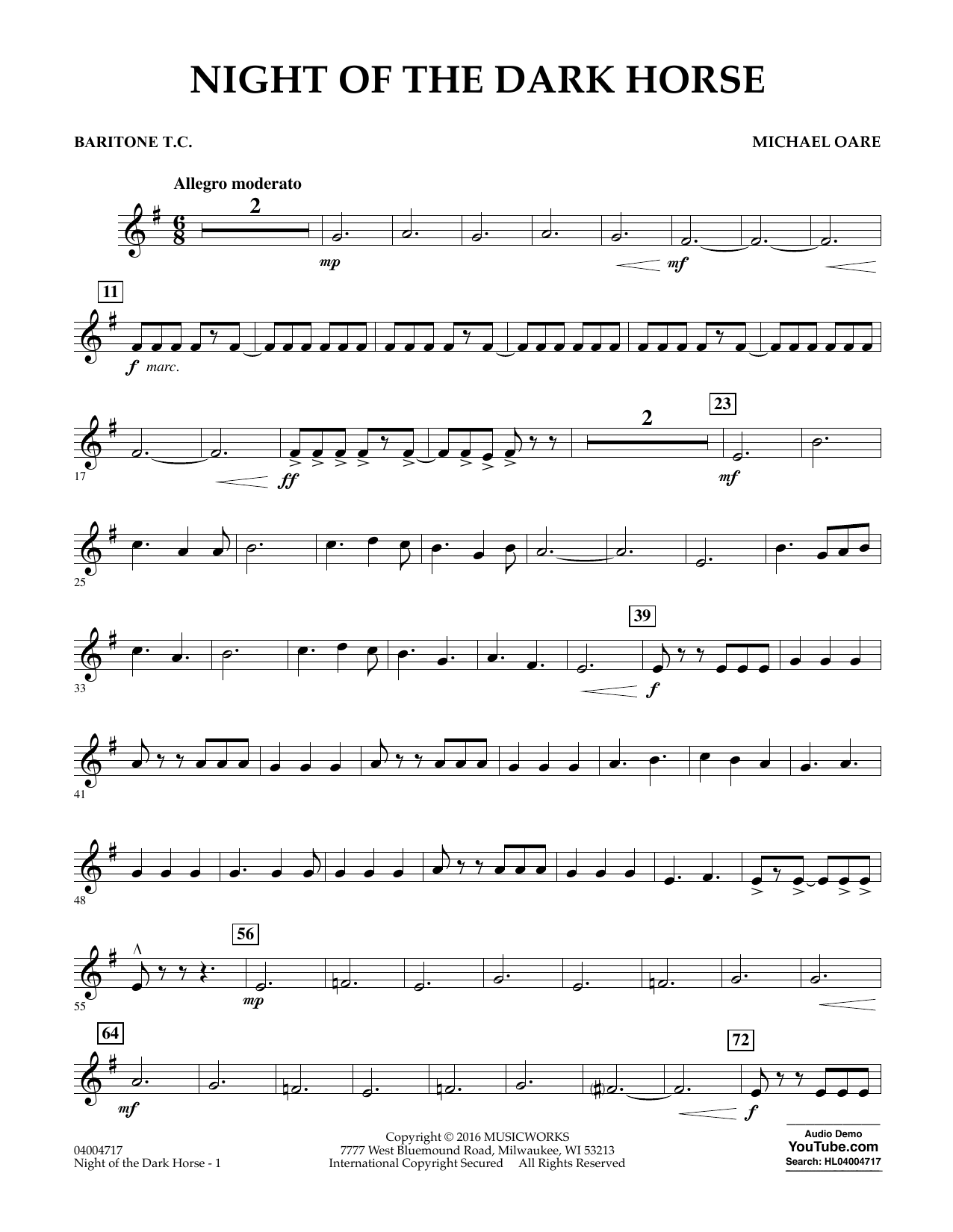 Night of the Dark Horse - Baritone T.C. (Concert Band)
