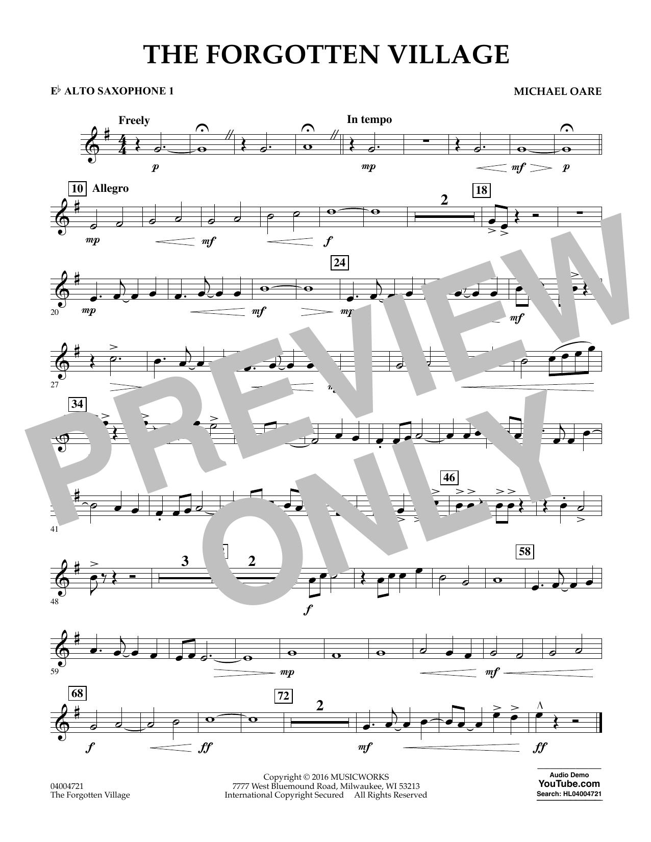 The Forgotten Village - Eb Alto Saxophone 1 (Concert Band)