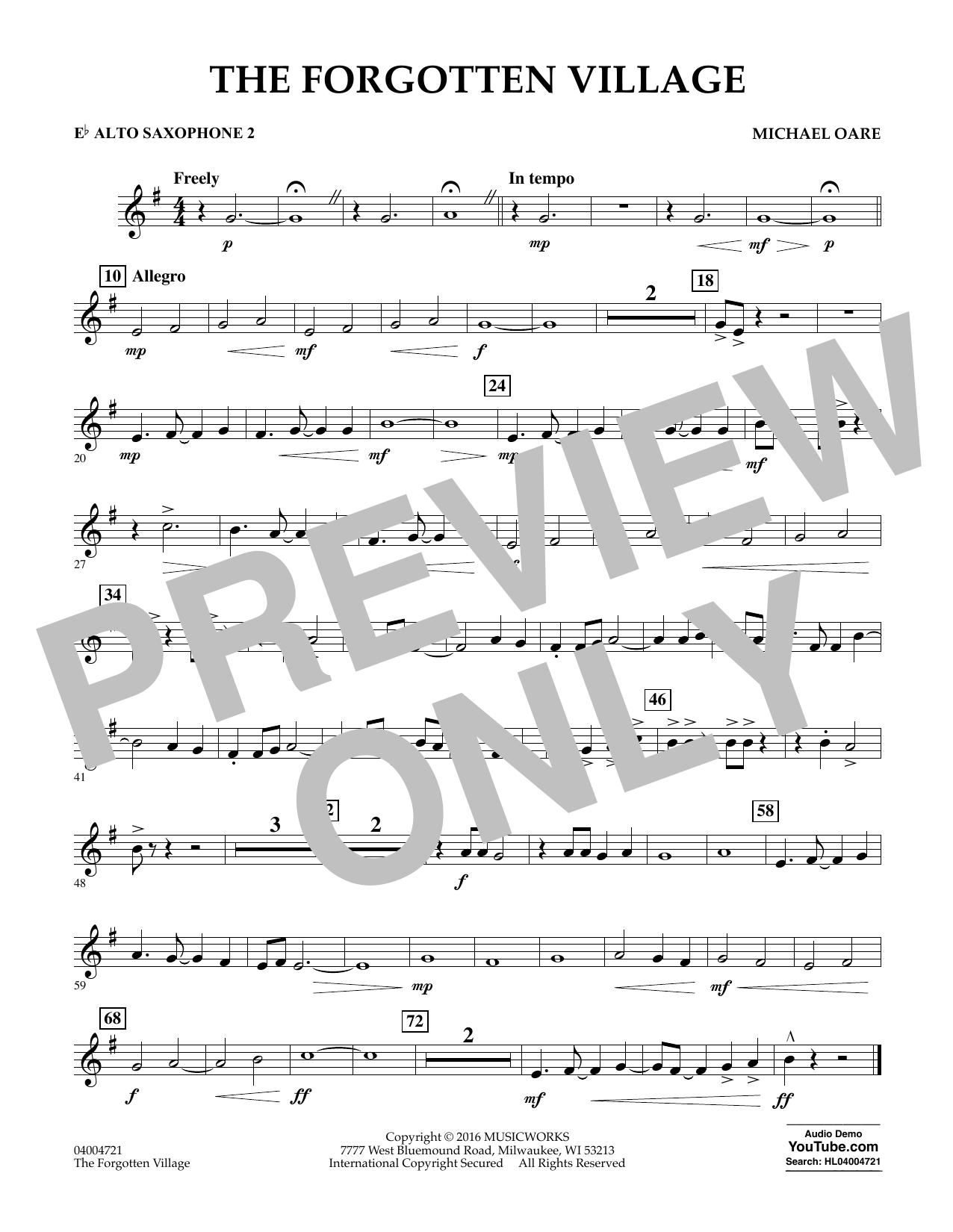 The Forgotten Village - Eb Alto Saxophone 2 (Concert Band)