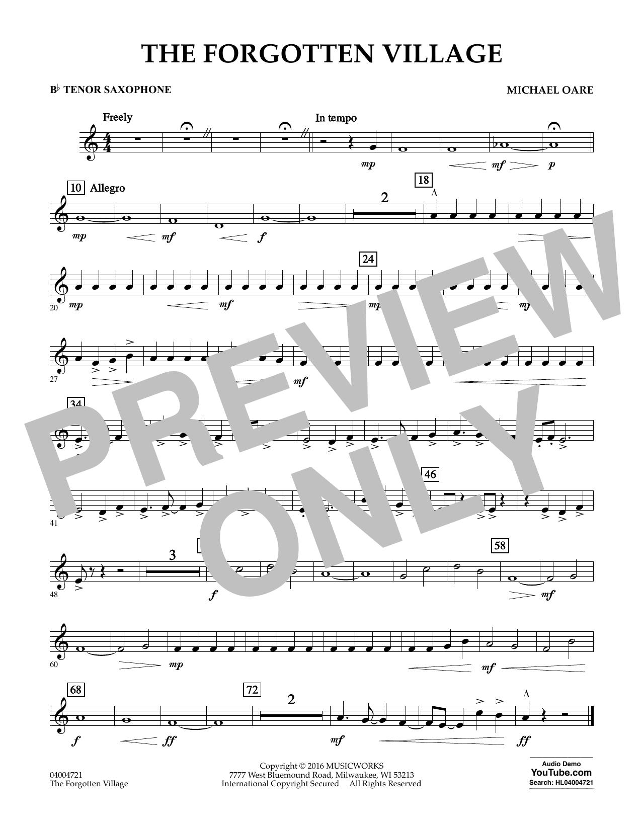 The Forgotten Village - Bb Tenor Saxophone (Concert Band)