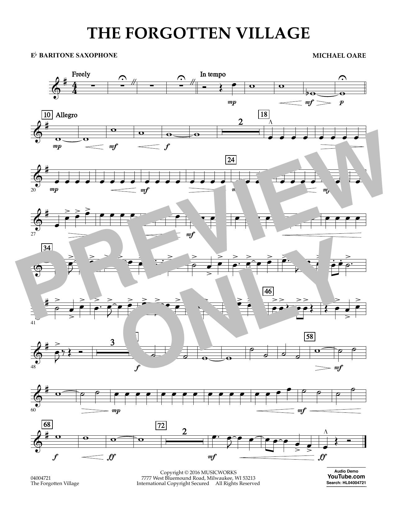 The Forgotten Village - Eb Baritone Saxophone (Concert Band)