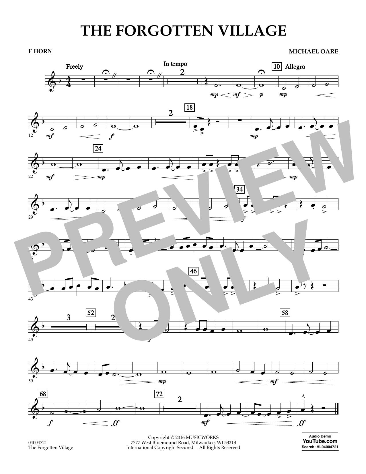 The Forgotten Village - F Horn (Concert Band)