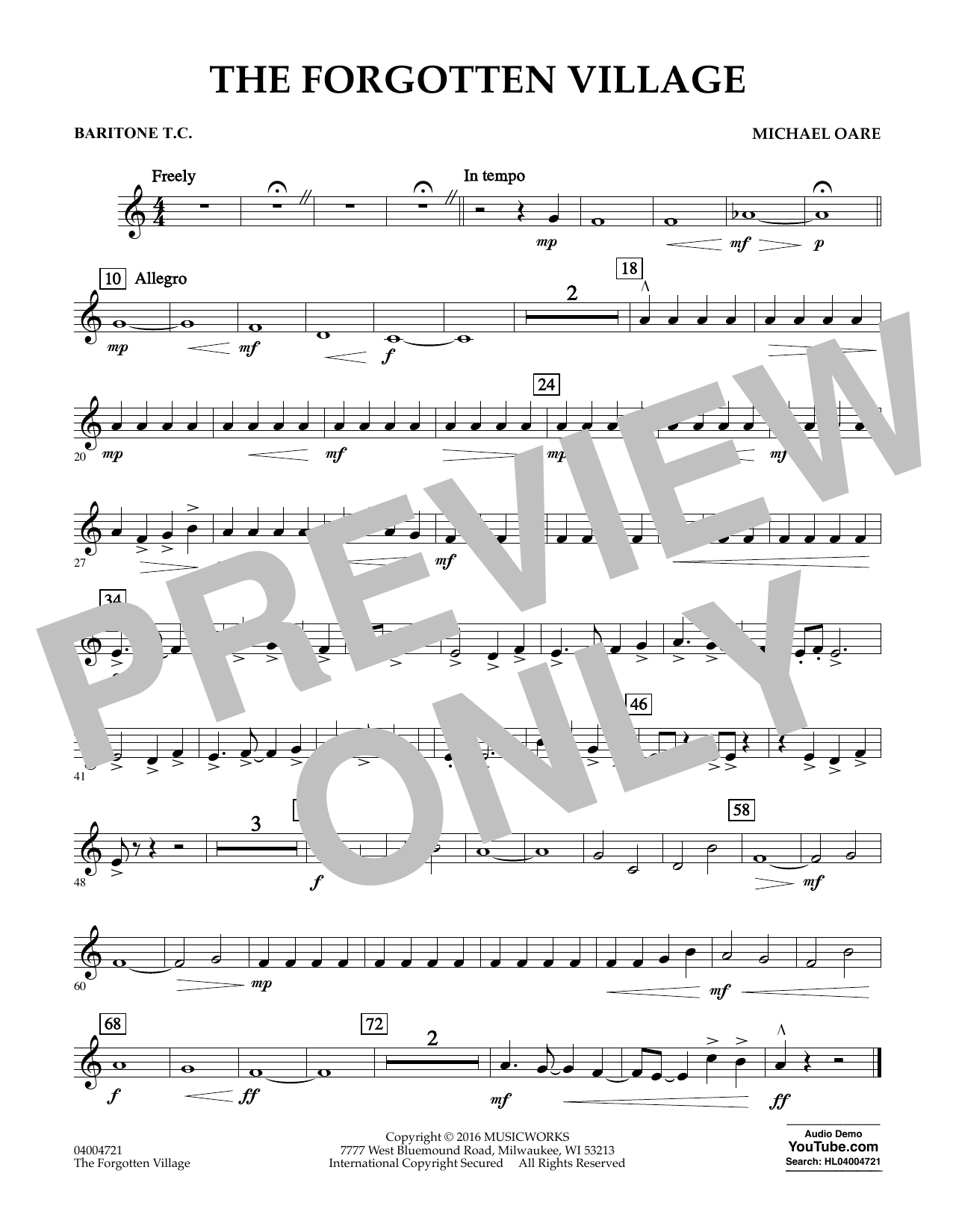 The Forgotten Village - Baritone T.C. (Concert Band)