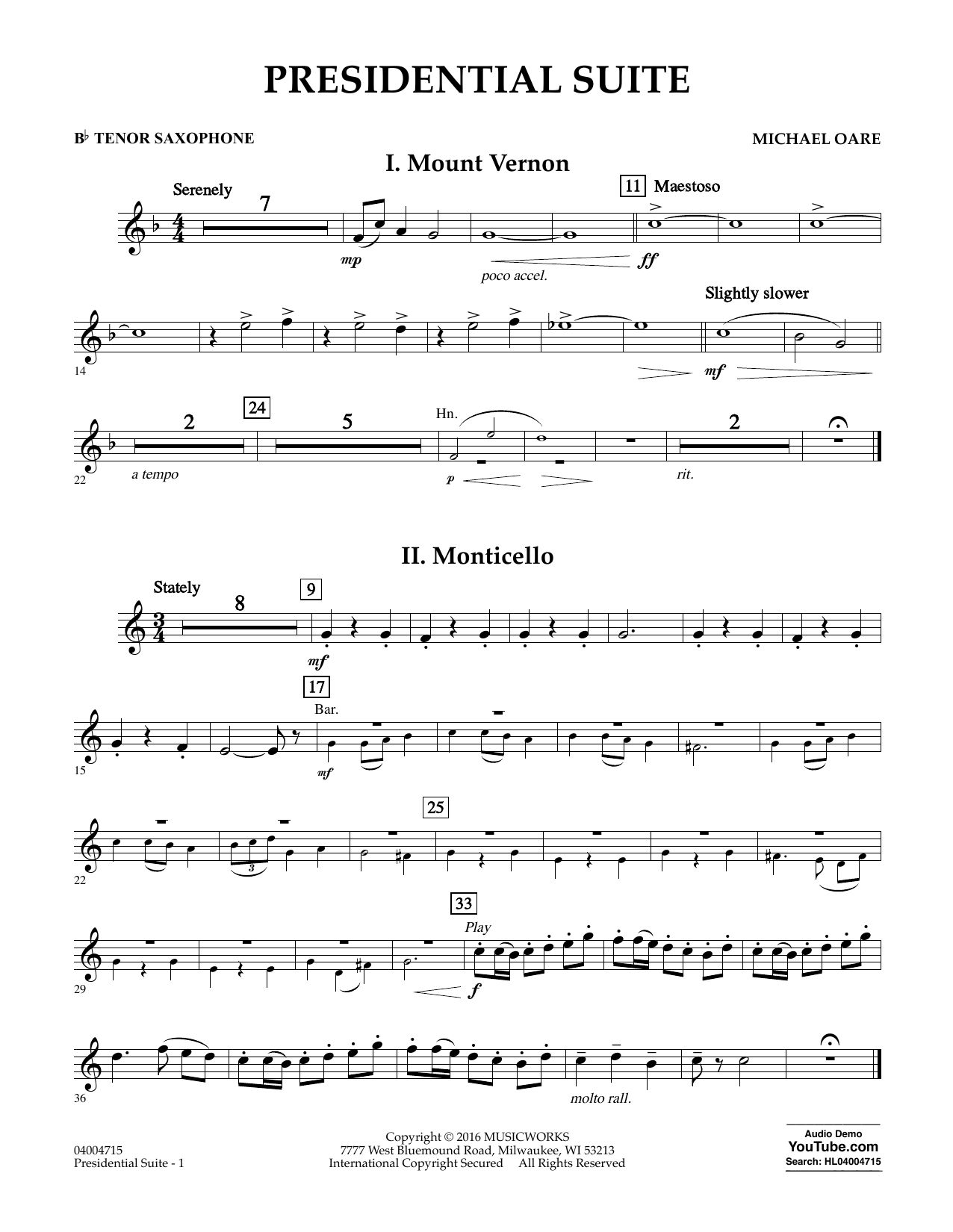 Presidential Suite - Bb Tenor Saxophone (Concert Band)