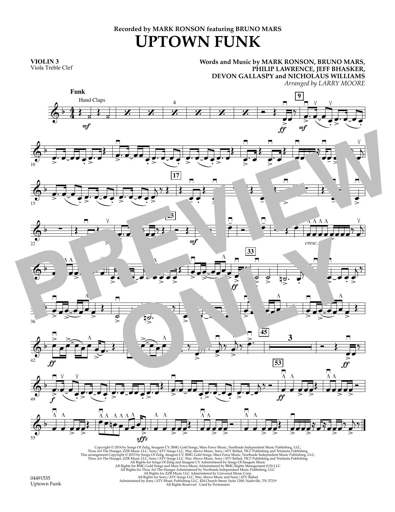 Uptown Funk - Violin 3 (Viola Treble Clef) (Orchestra)
