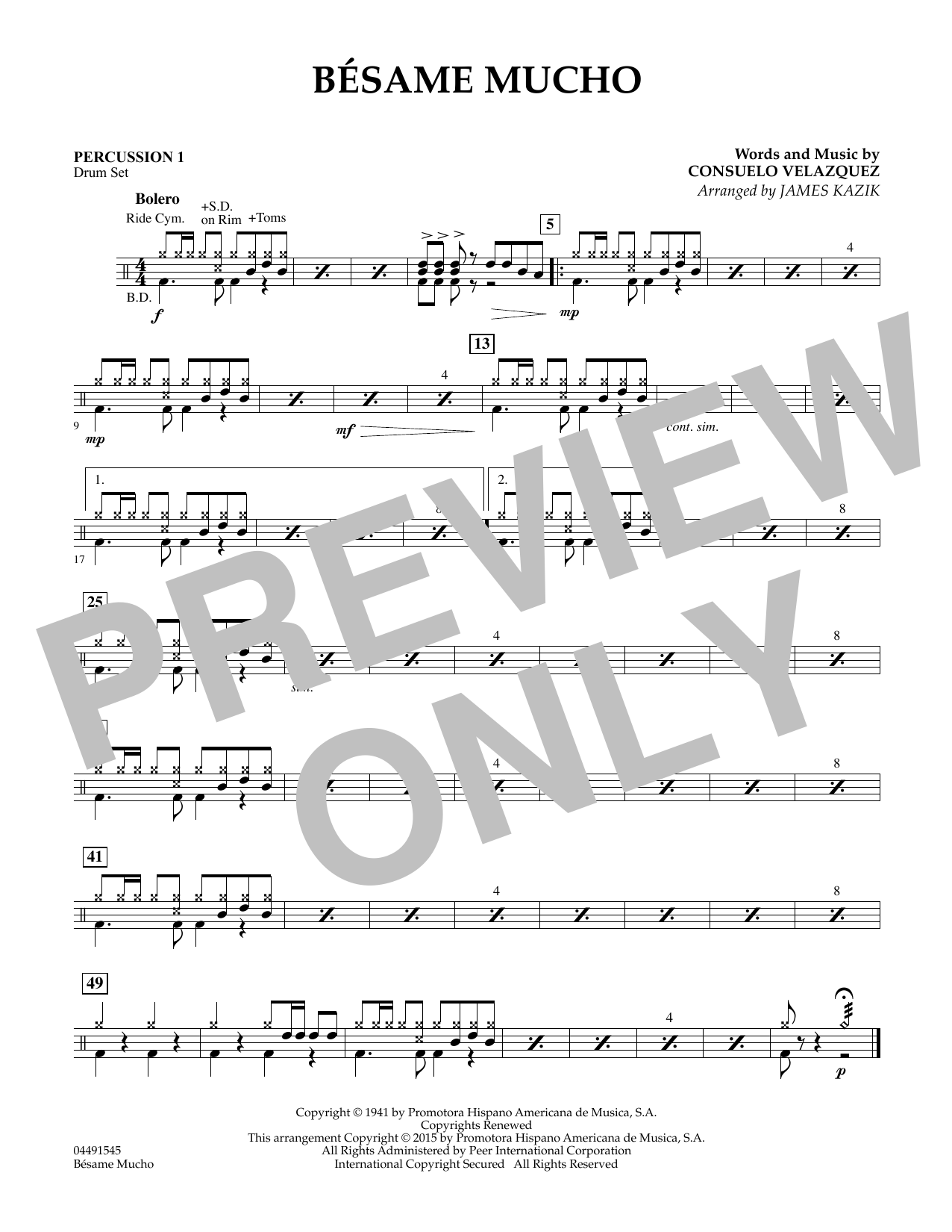 Besame Mucho - Percussion 1 (Orchestra)