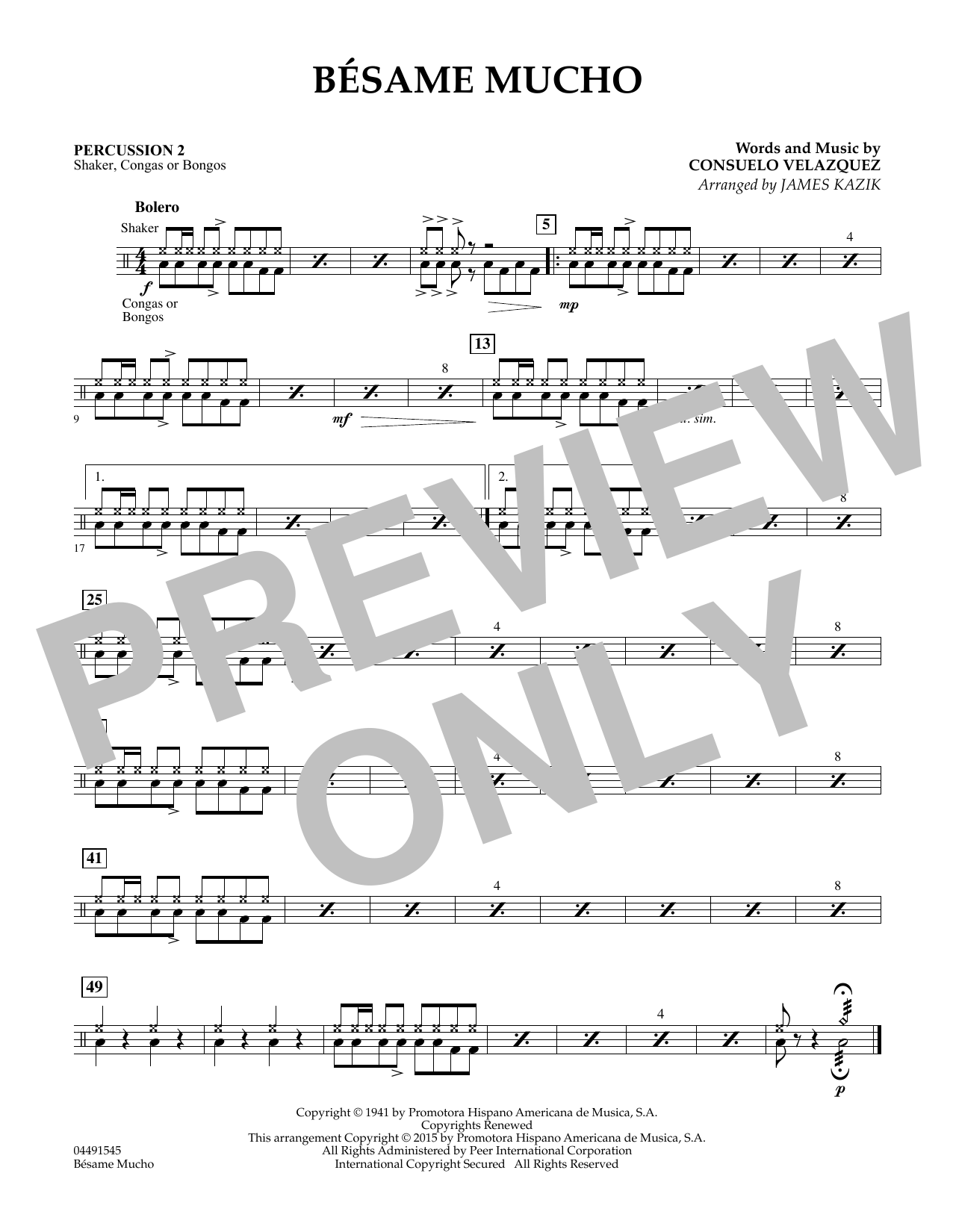 Besame Mucho - Percussion 2 (Orchestra)