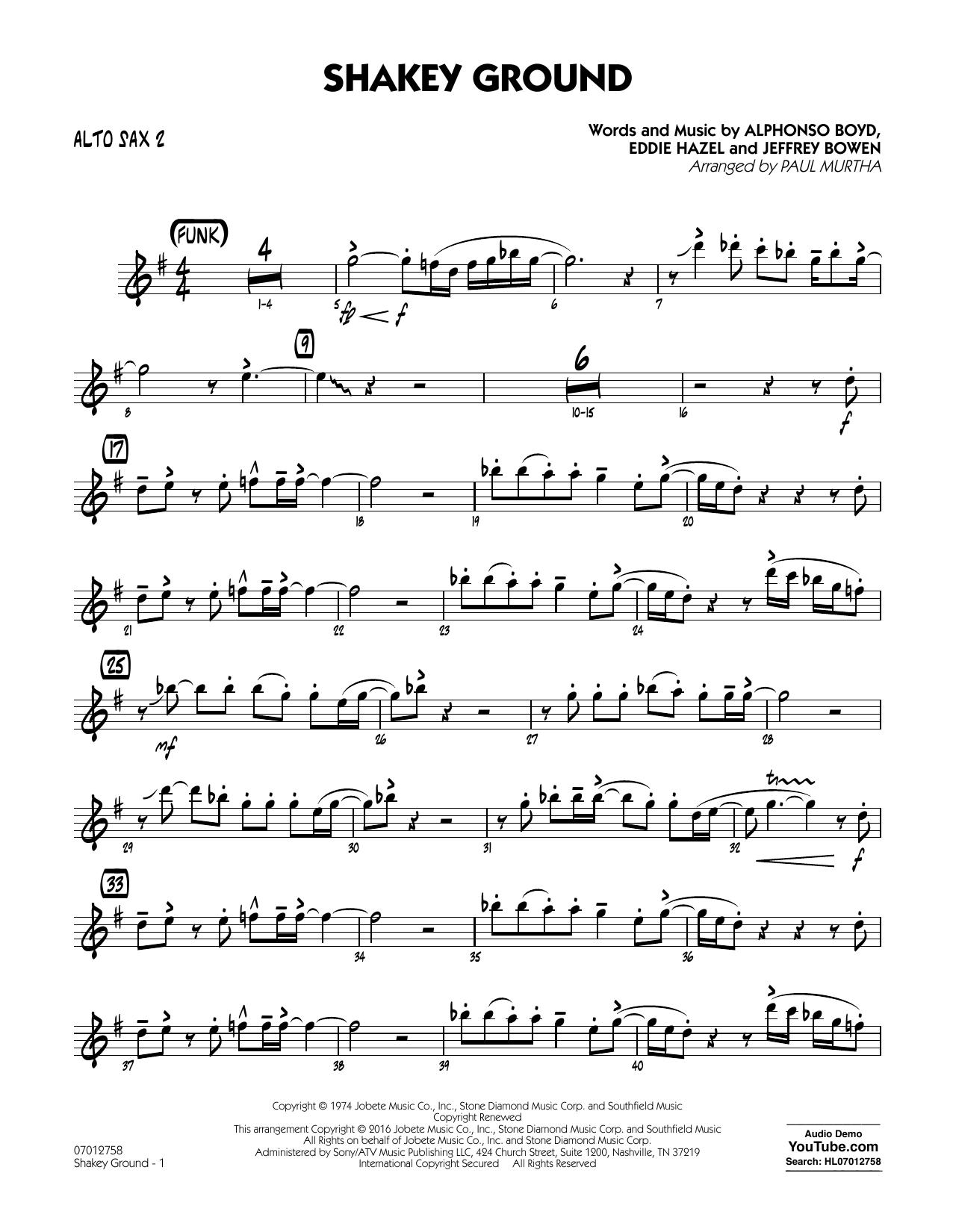 Shakey Ground - Alto Sax 2 (Jazz Ensemble)