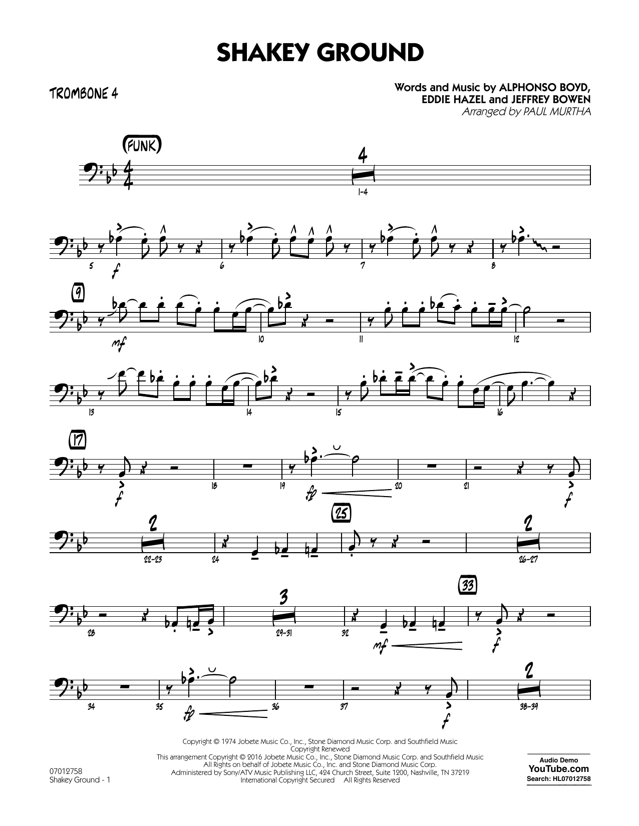 Shakey Ground - Trombone 4 (Jazz Ensemble)