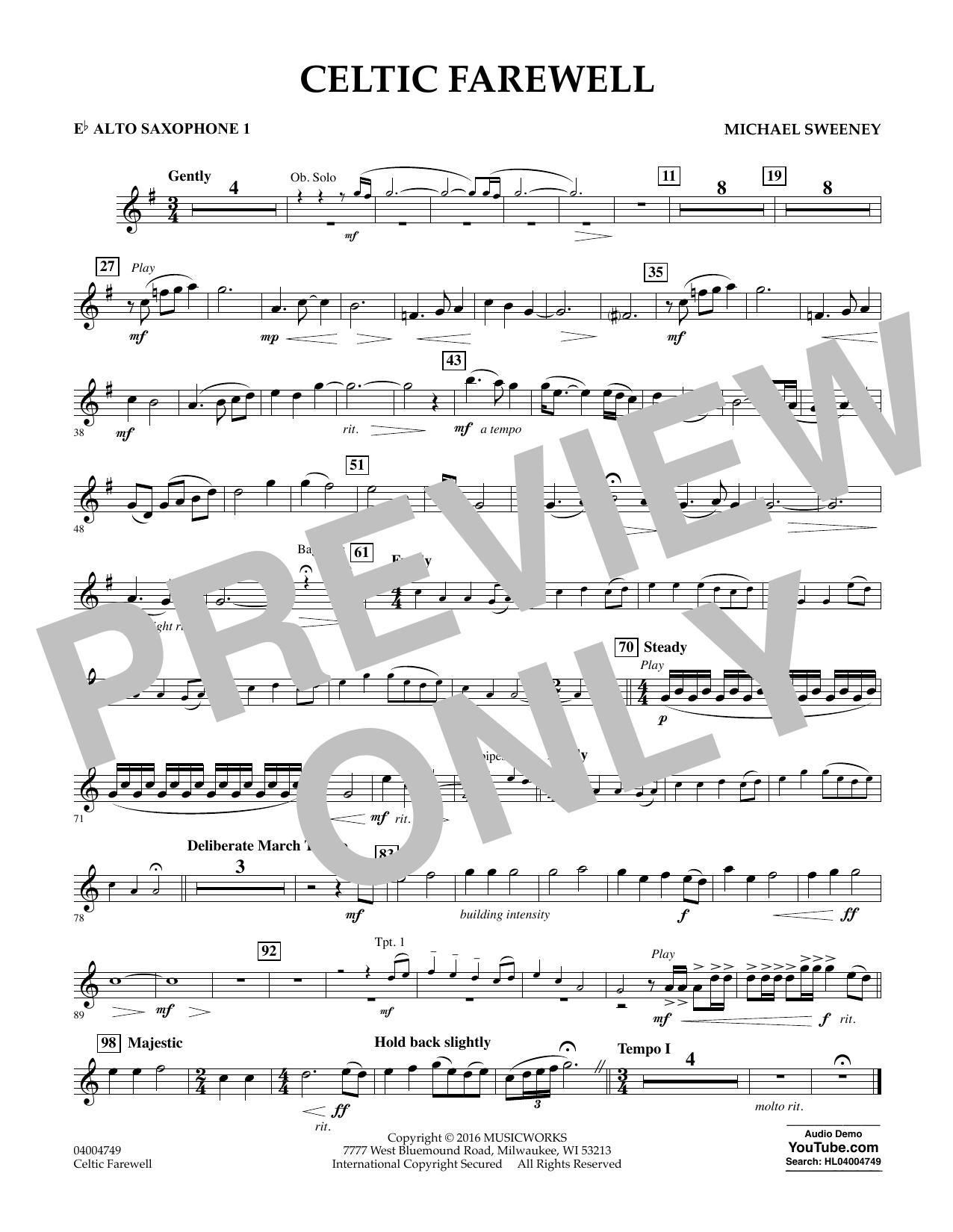 Celtic Farewell - Eb Alto Saxophone 1 (Concert Band)