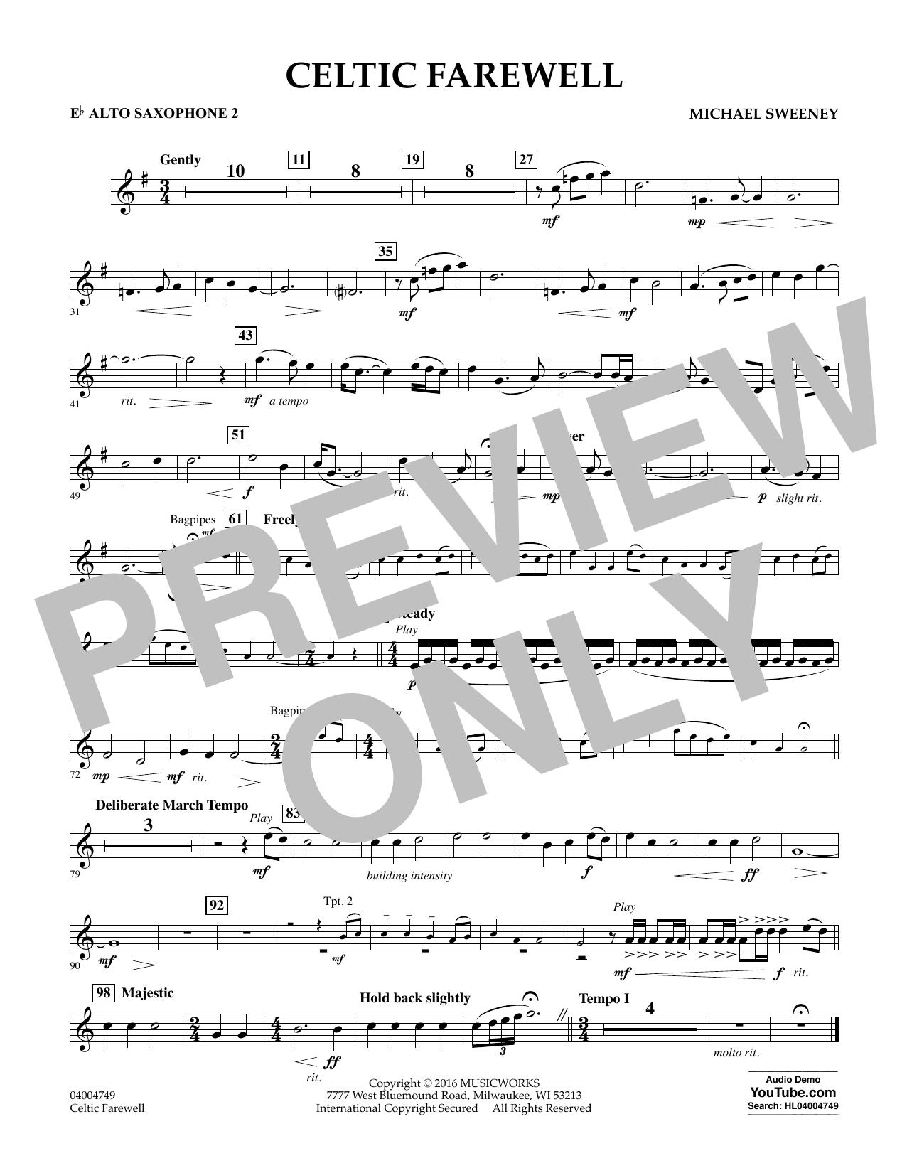 Celtic Farewell - Eb Alto Saxophone 2 (Concert Band)