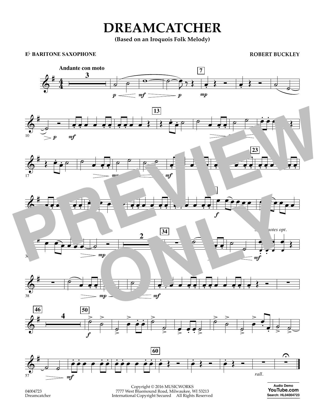 Dreamcatcher - Eb Baritone Saxophone (Concert Band)