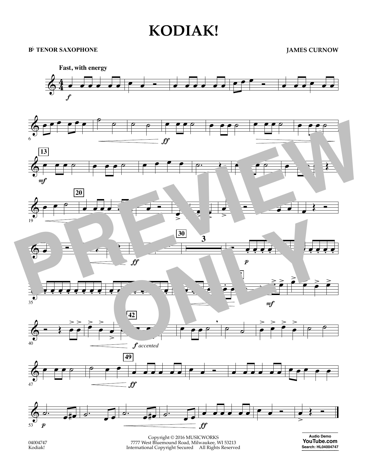 Kodiak! - Bb Tenor Saxophone (Concert Band)