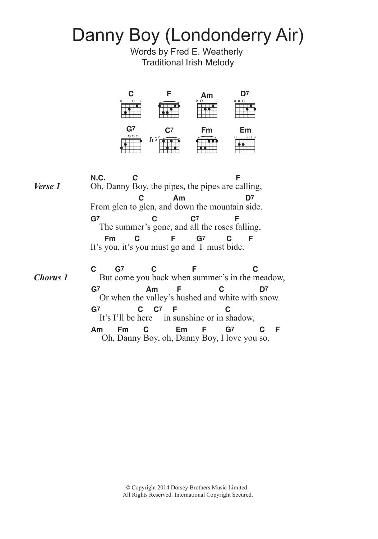Danny Boy Londonderry Air By Traditional Guitar Chordslyrics