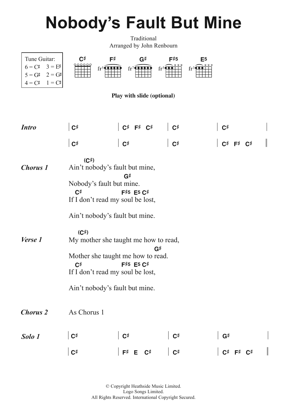 Nobody's Fault But Mine Sheet Music