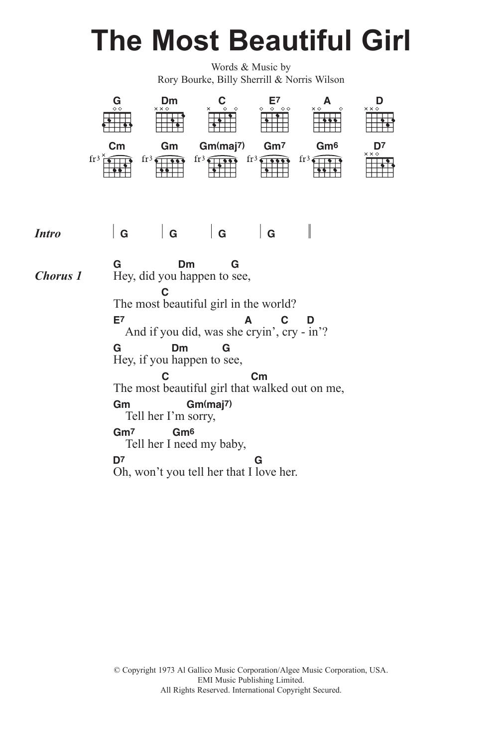 The Most Beautiful Girl Charlie Rich Lyrics Chords