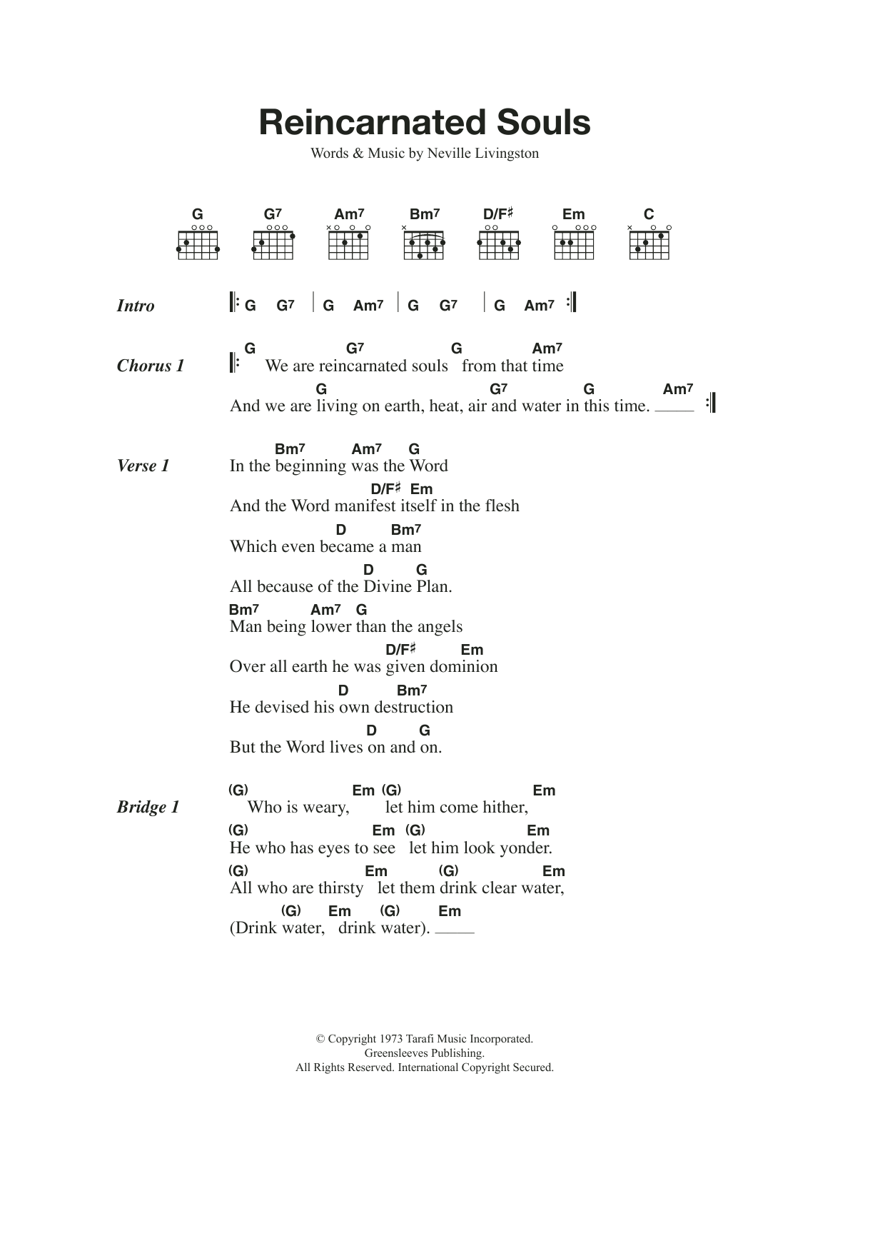 Reincarnated Souls Sheet Music