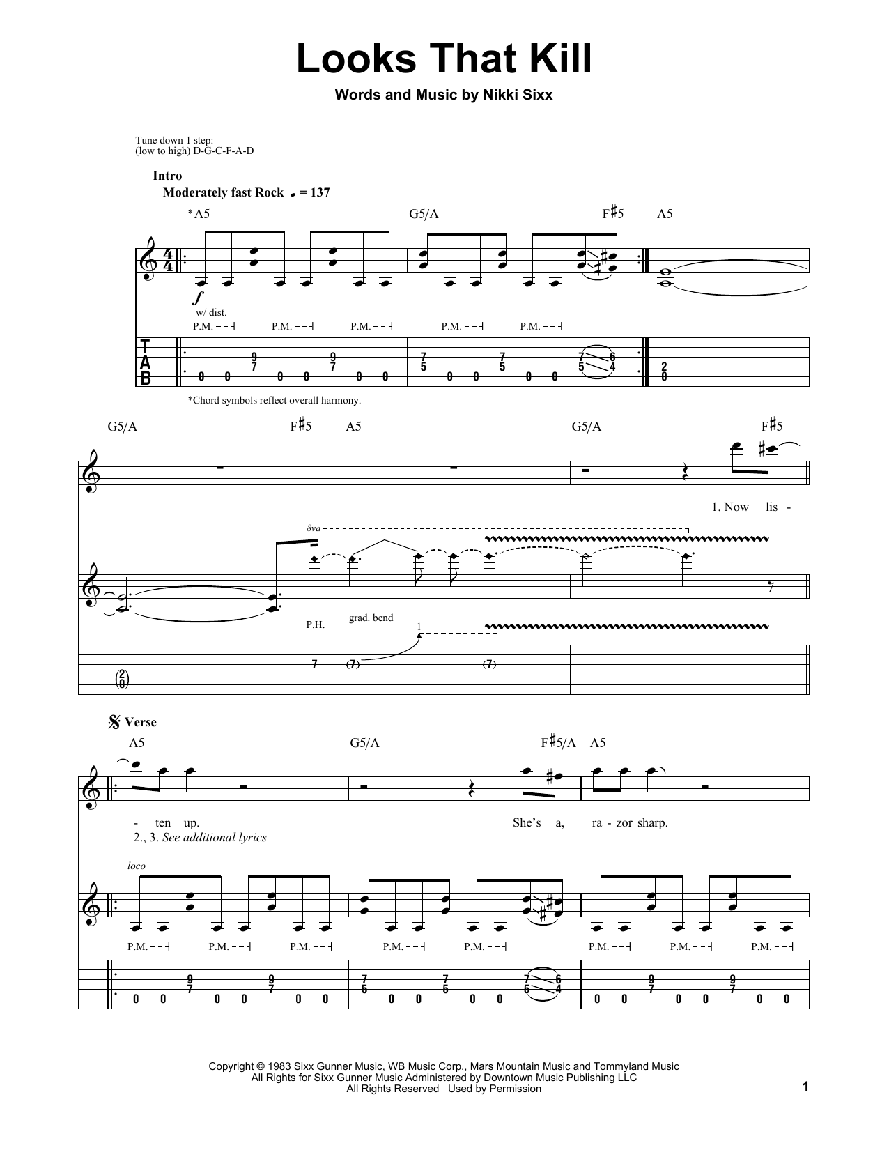 Looks That Kill Sheet Music