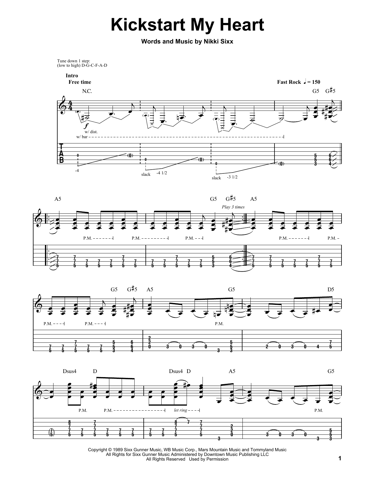 Kickstart My Heart Sheet Music