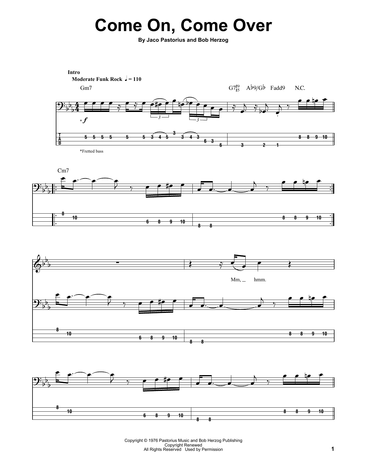 Come On, Come Over Sheet Music