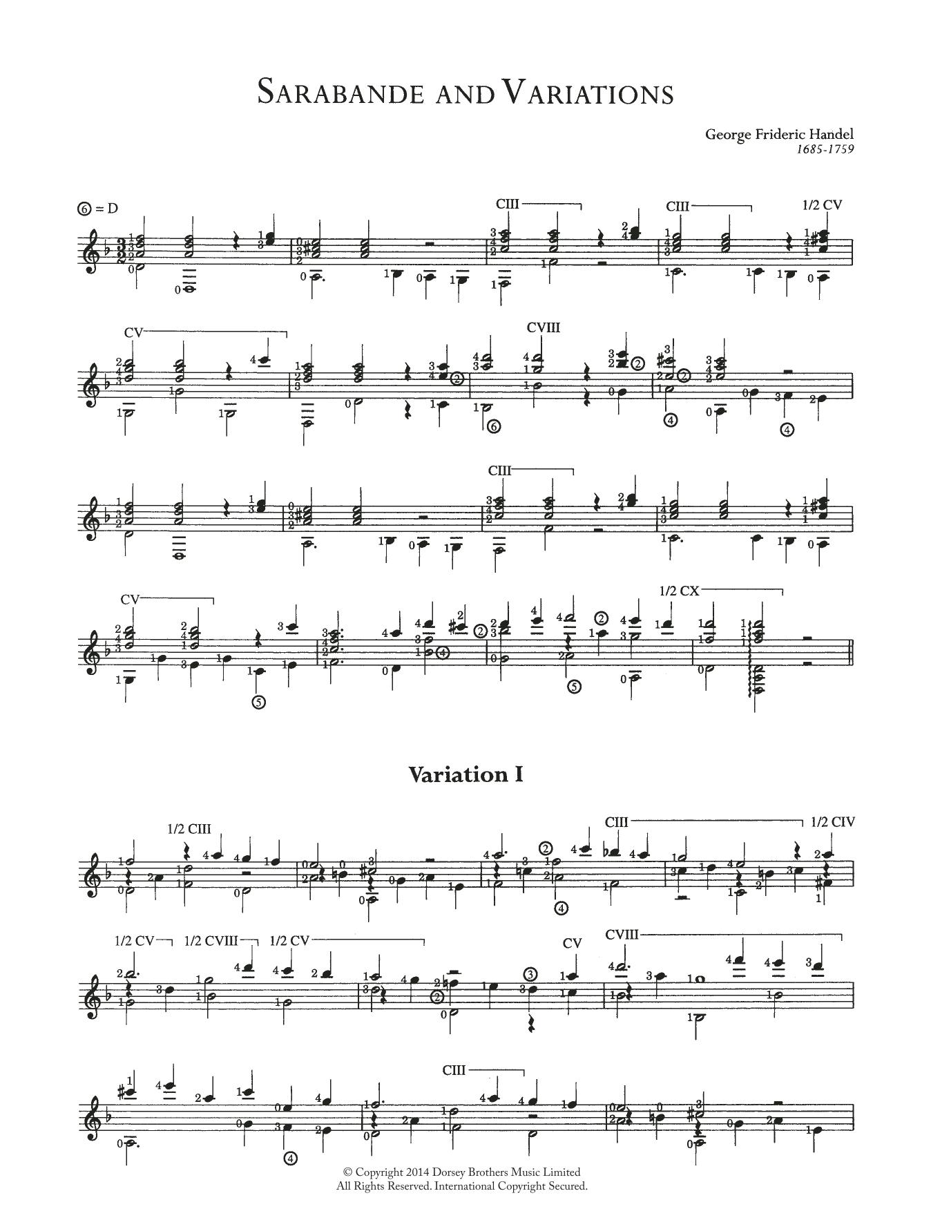 Sarabande And Variations (Easy Guitar)