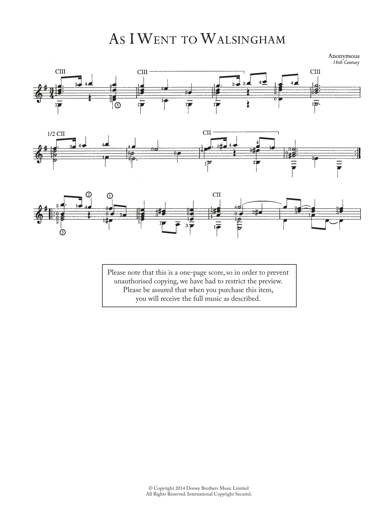 As I Went To Walsingham Sheet Music