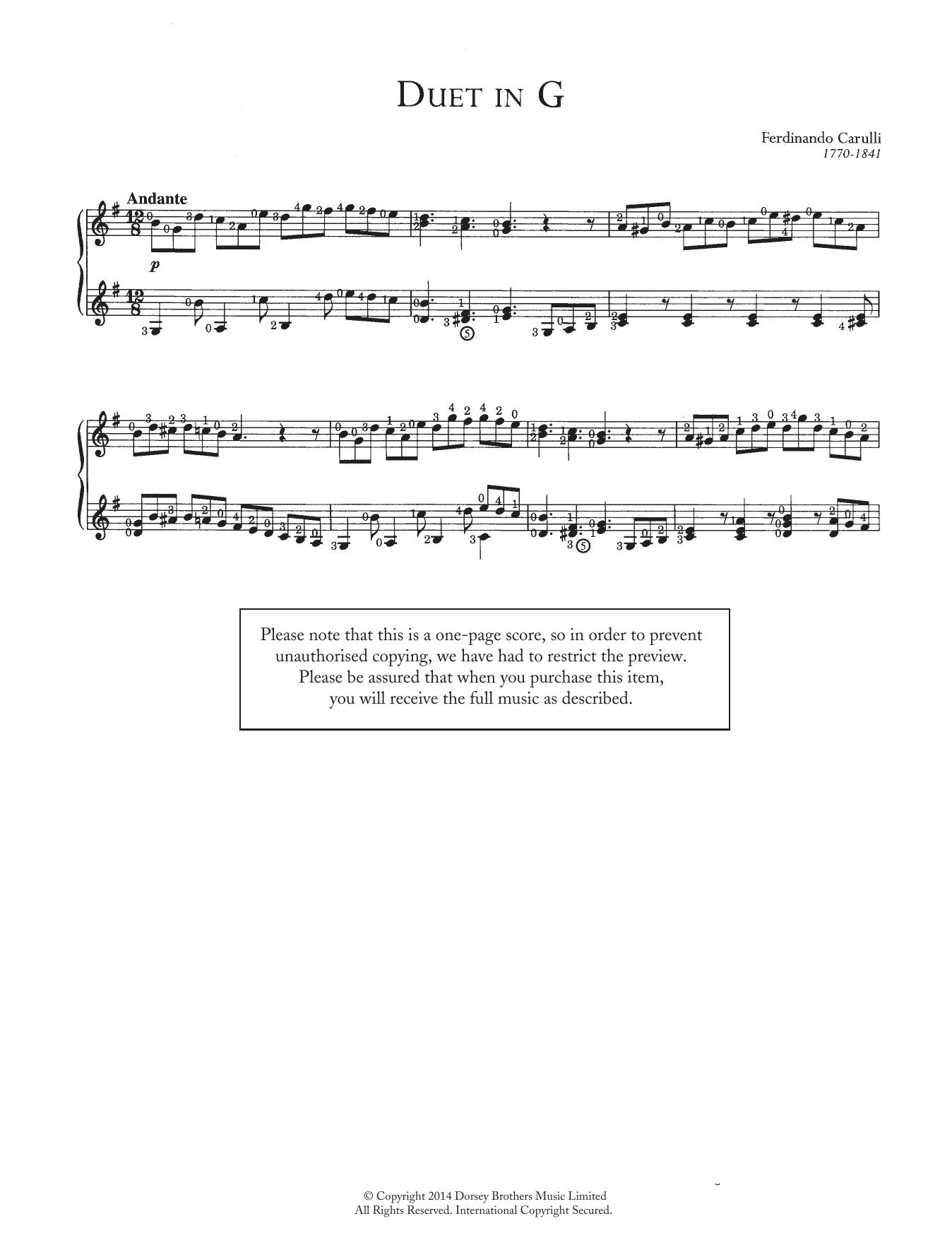 Duet In G Sheet Music