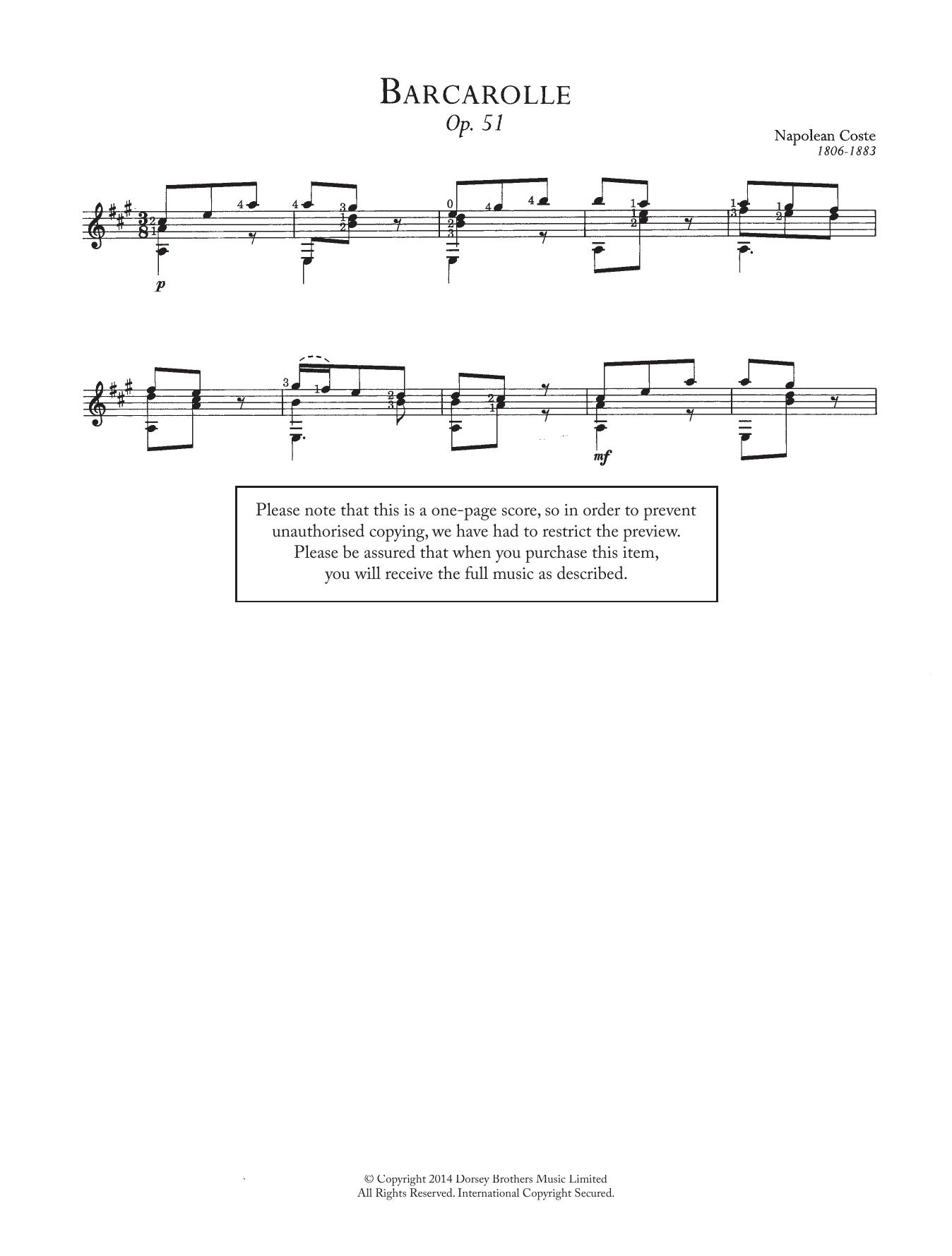 Barcarolle, Op.51 Sheet Music