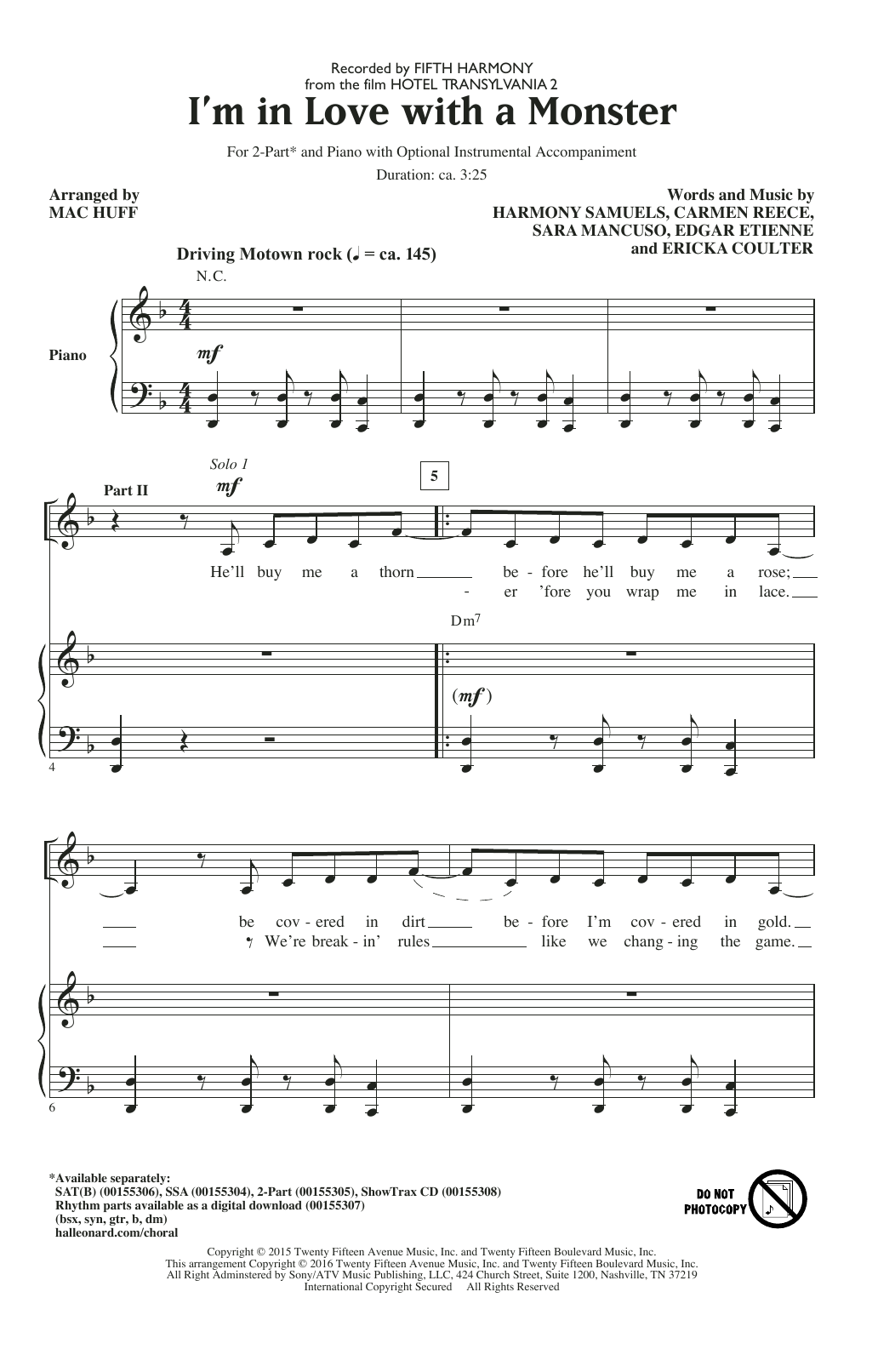 I'm In Love With A Monster (arr. Mac Huff) Sheet Music