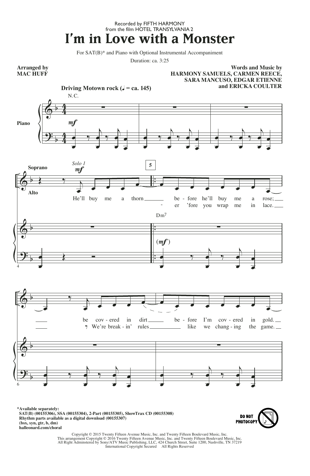 Partition chorale I'm In Love With A Monster (arr. Mac Huff) de Fifth Harmony - SATB
