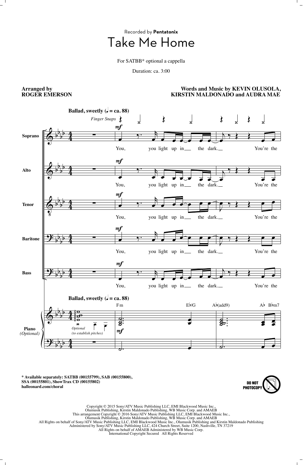 Take Me Home (arr. Roger Emerson) Sheet Music