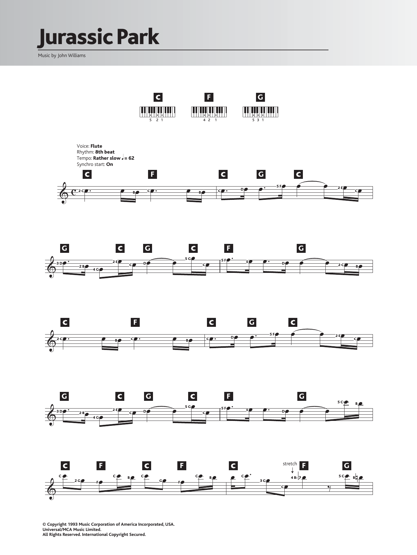 Theme From Jurassic Park by John Williams Very Easy Piano Digital Sheet  Music