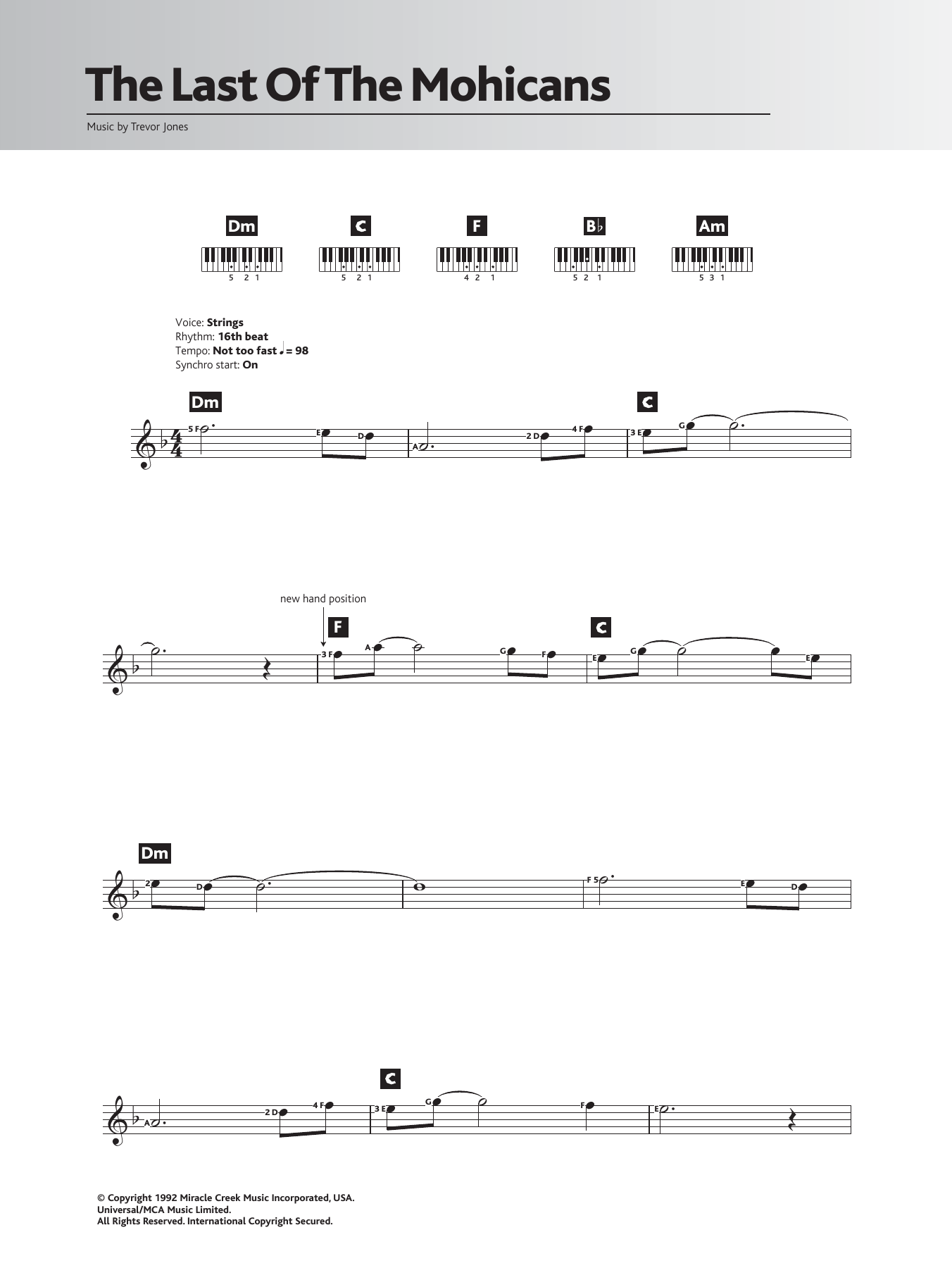 The Last Of The Mohicans (Main Title) by Trevor Jones Keyboard (Abridged)  Digital Sheet Music