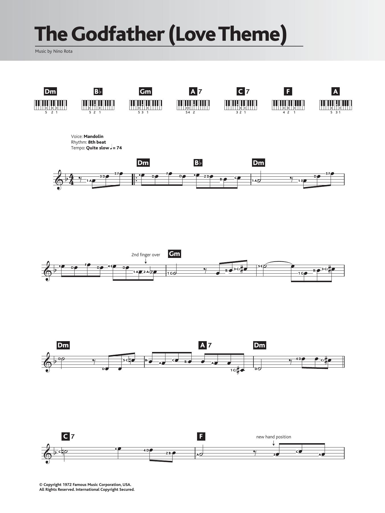 Speak Softly Love Godfather Theme Sheet Music Nino Rota Keyboard