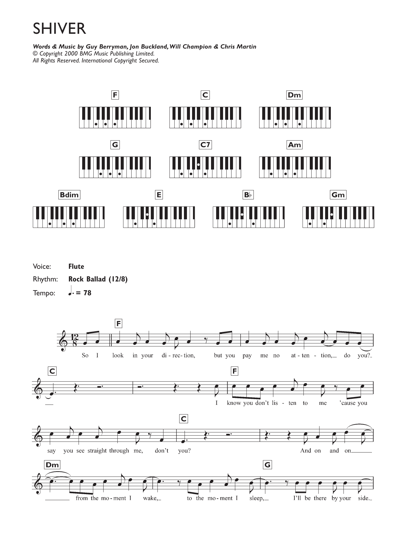 Shiver (Piano Chords/Lyrics)