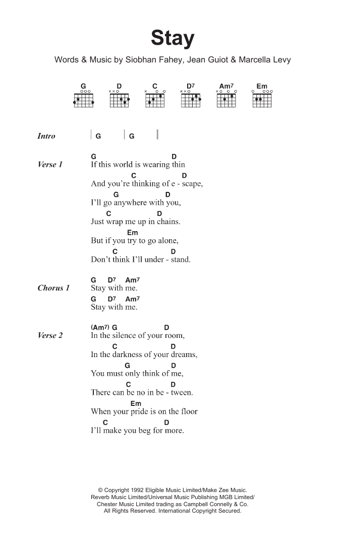 Stay by Shakespears Sister - Guitar Chords/Lyrics - Guitar Instructor