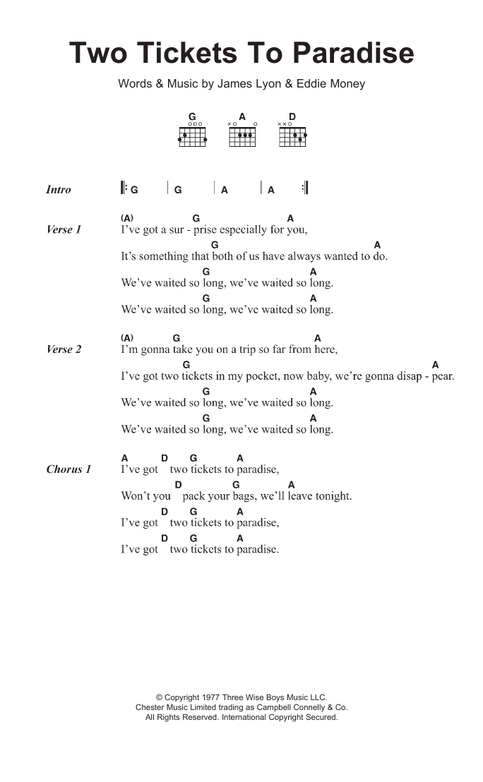 Two Tickets To Paradise by Eddie Money - Guitar Chords/Lyrics ...