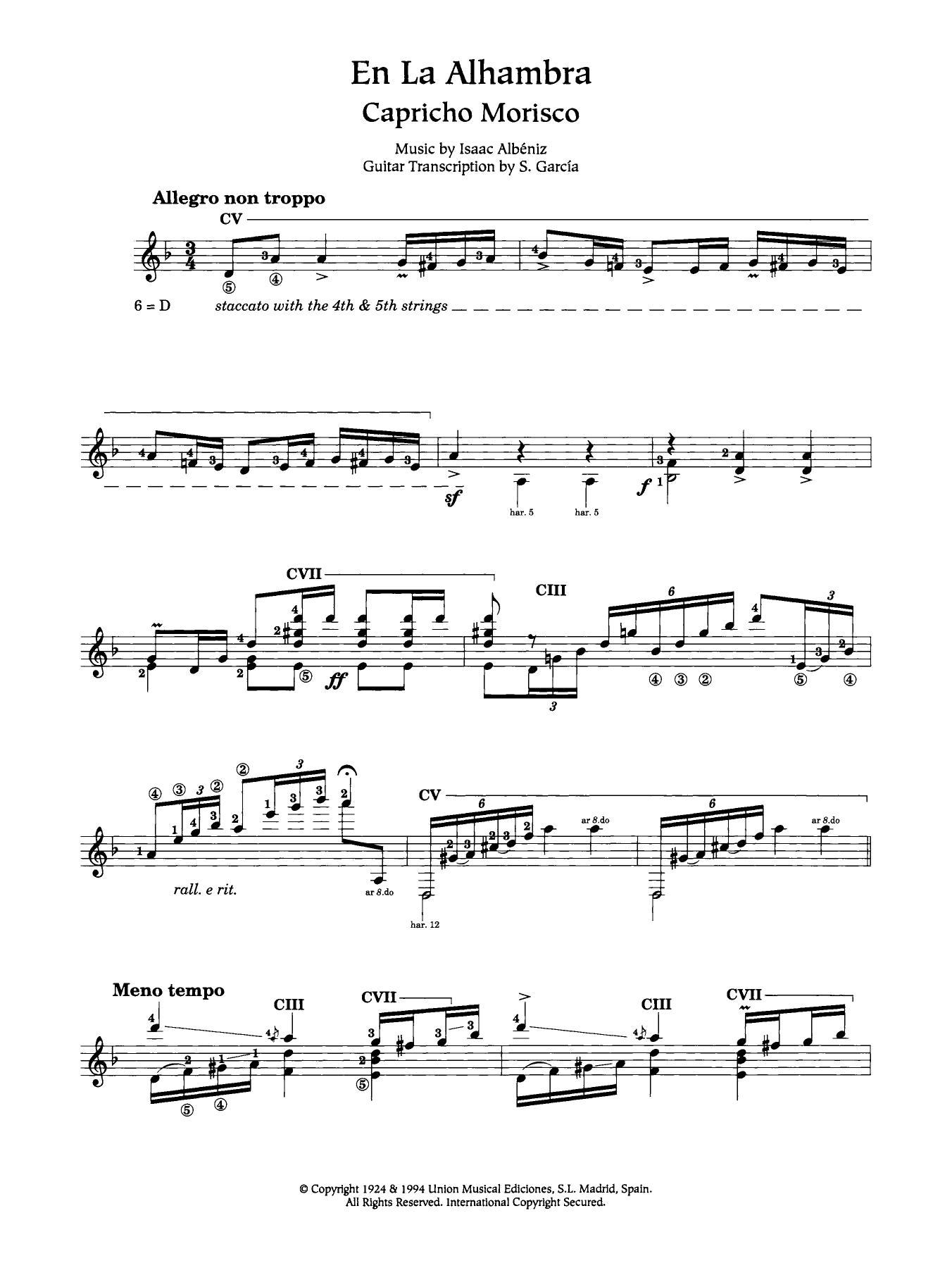 En La Alhambra (Capricho Morisco) Sheet Music