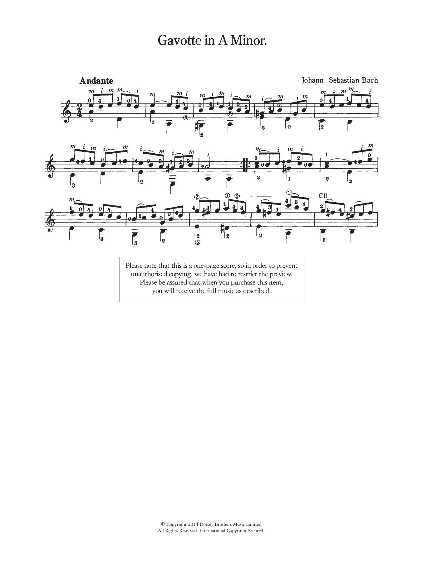 Gavotte in A Minor Sheet Music