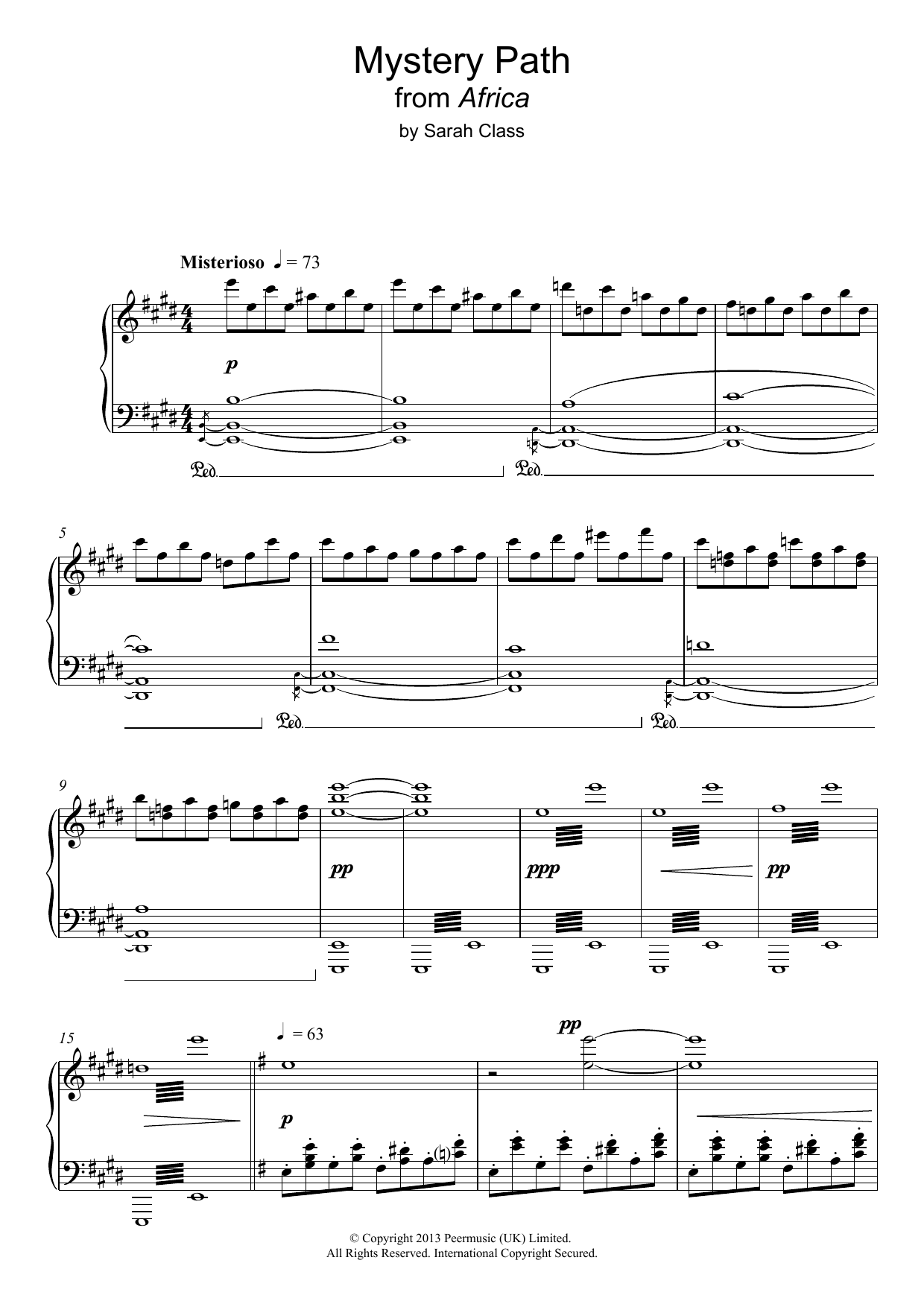 Mystery Path (from 'Africa') Sheet Music