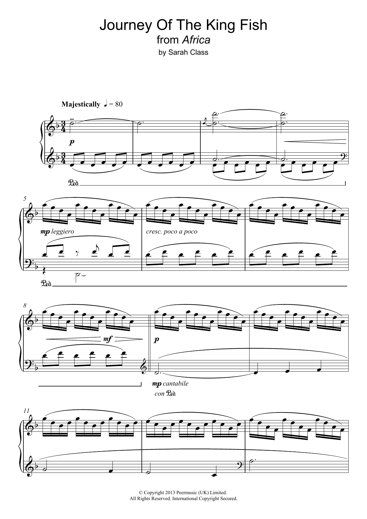 Journey Of The King Fish (from 'Africa') Sheet Music