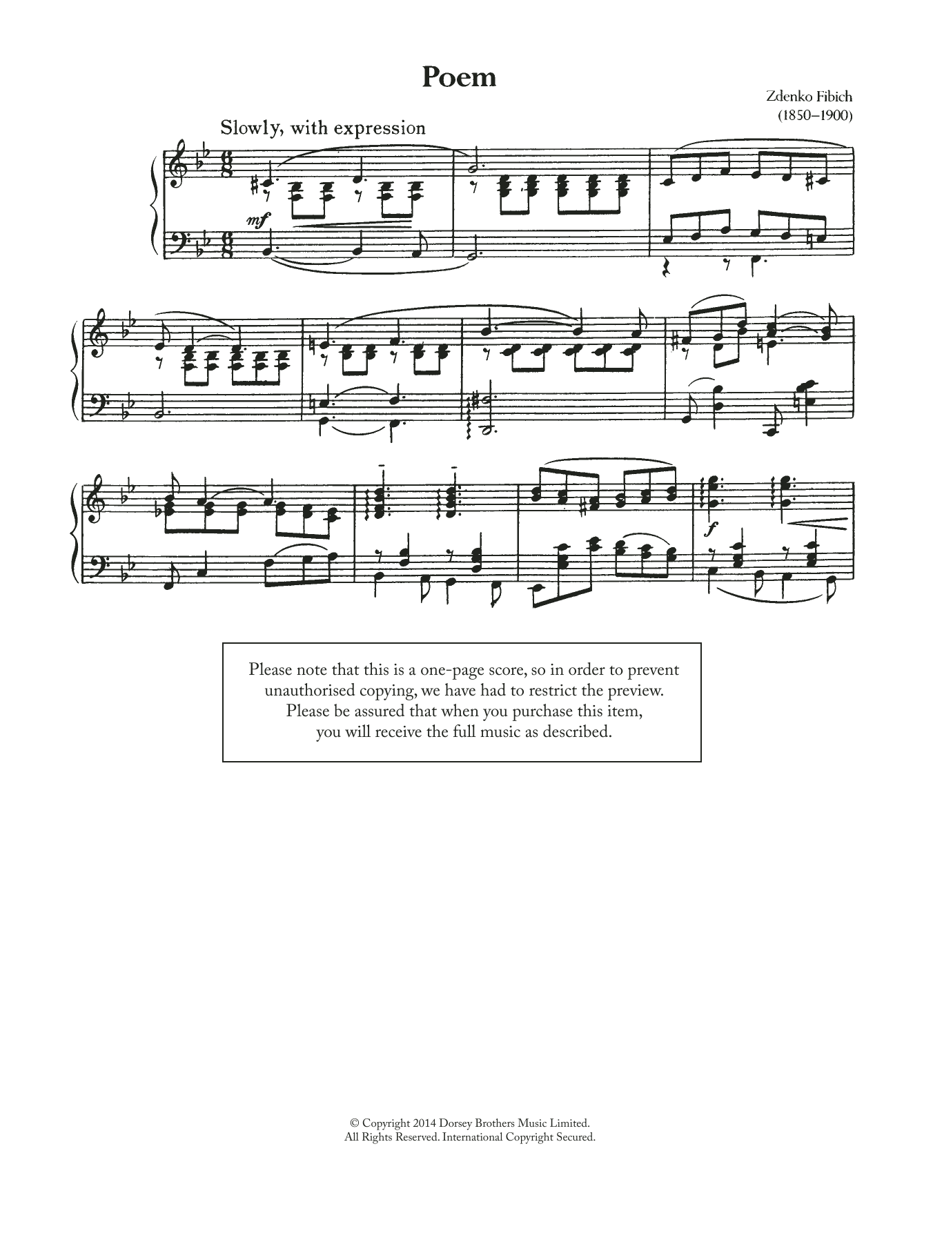 Poeme Sheet Music