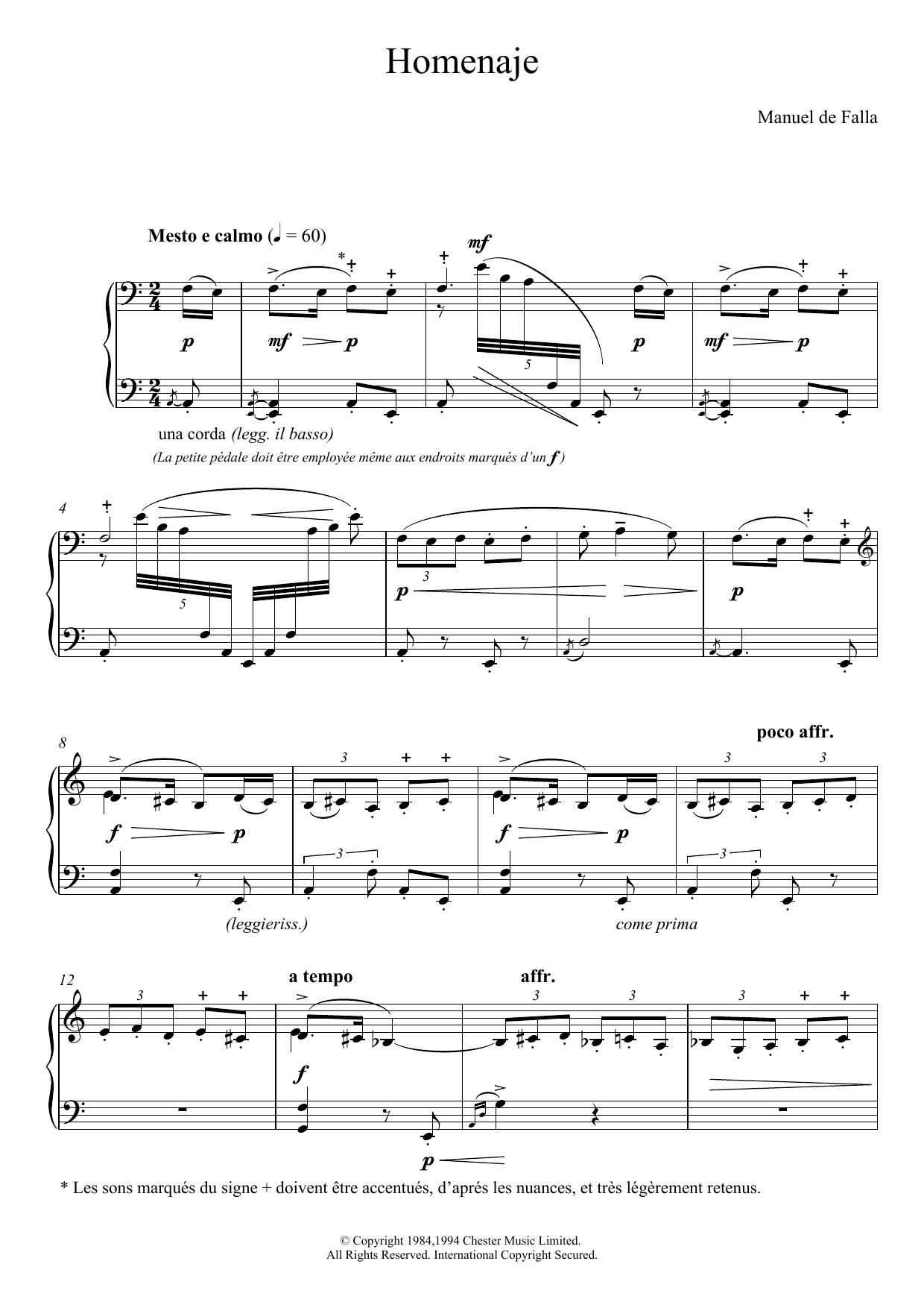 Homenaje Sheet Music
