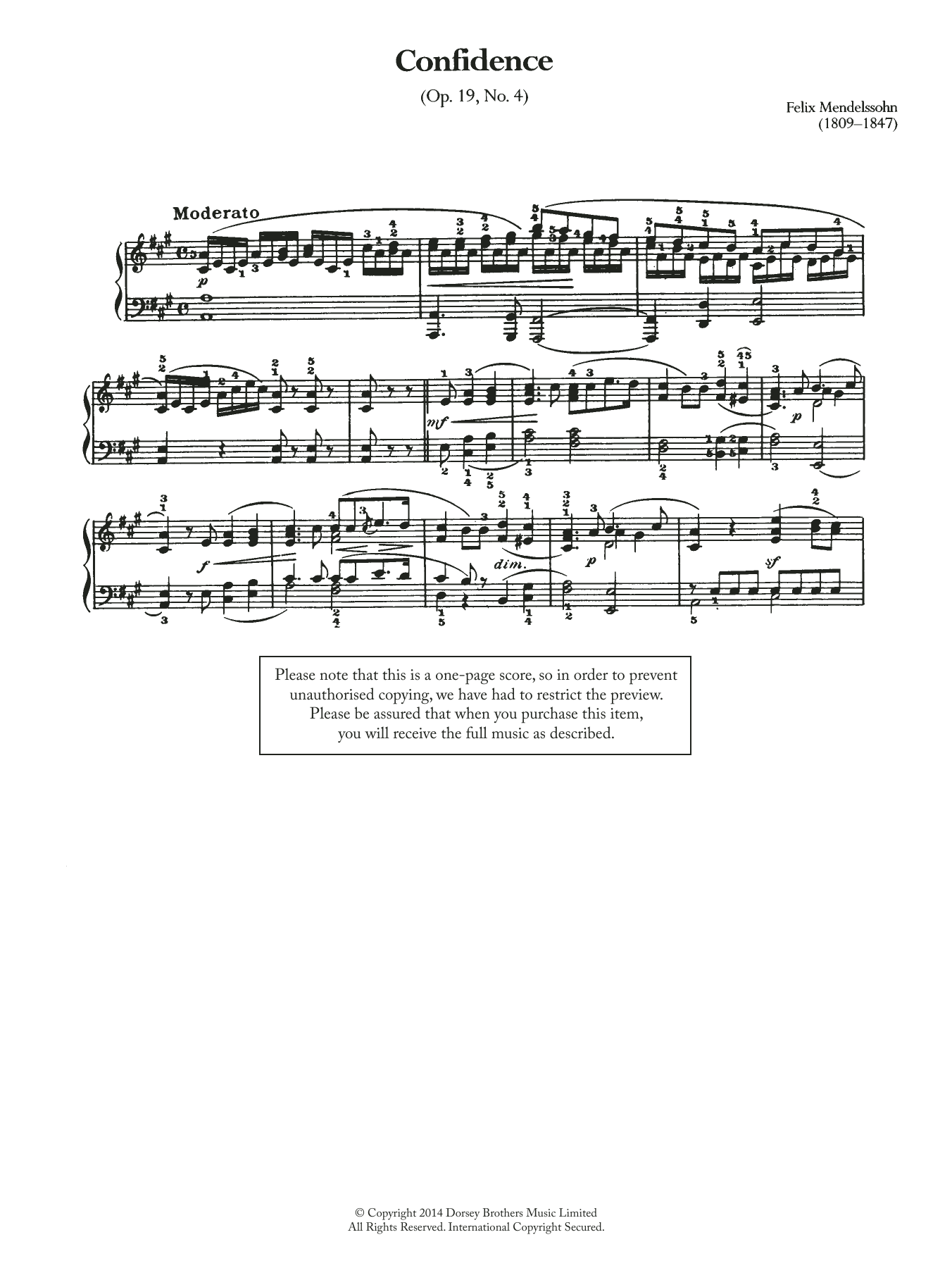 Confidence Op.19, No.4 Sheet Music