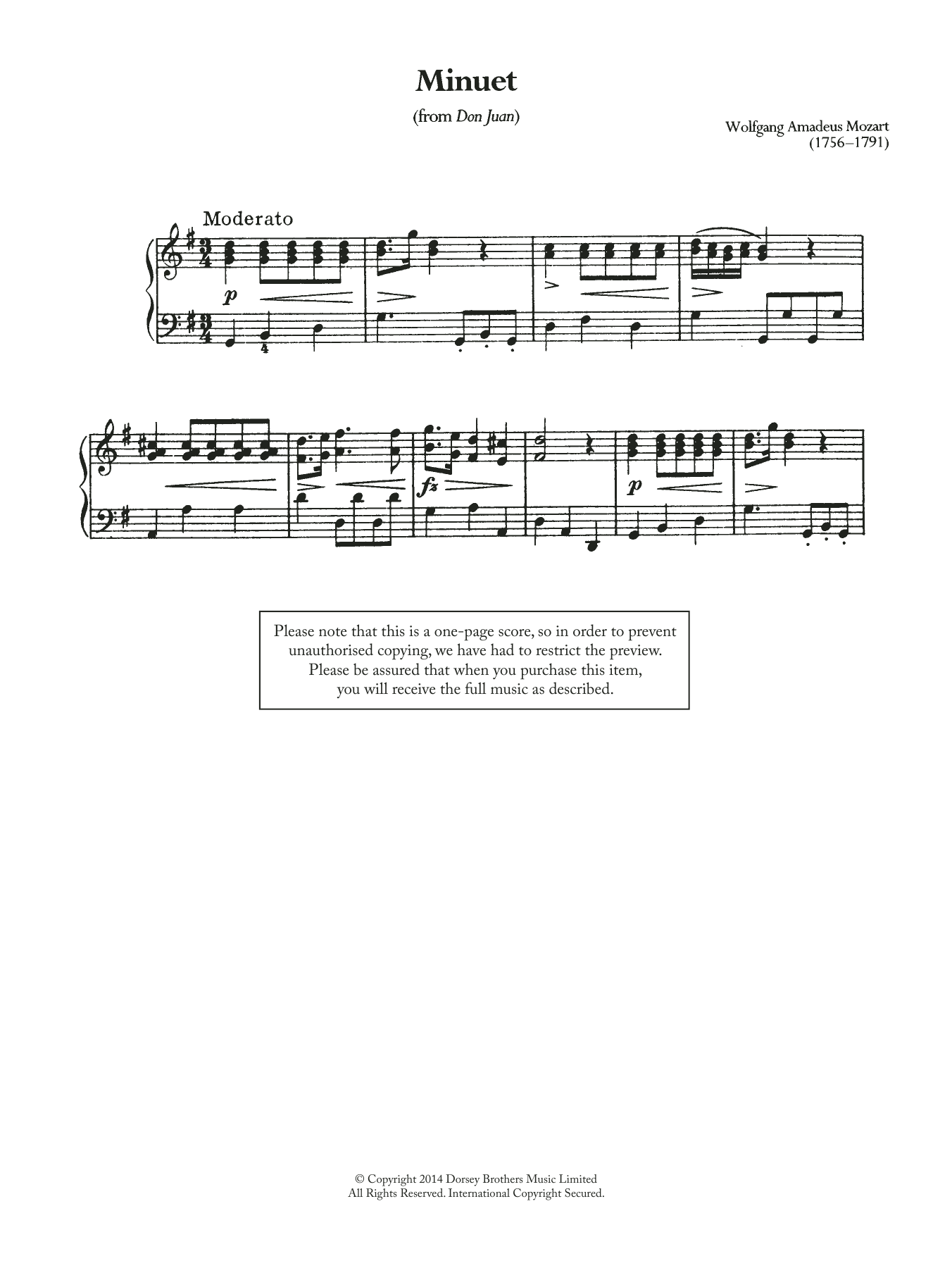 Minuet (From 'Don Juan') Sheet Music