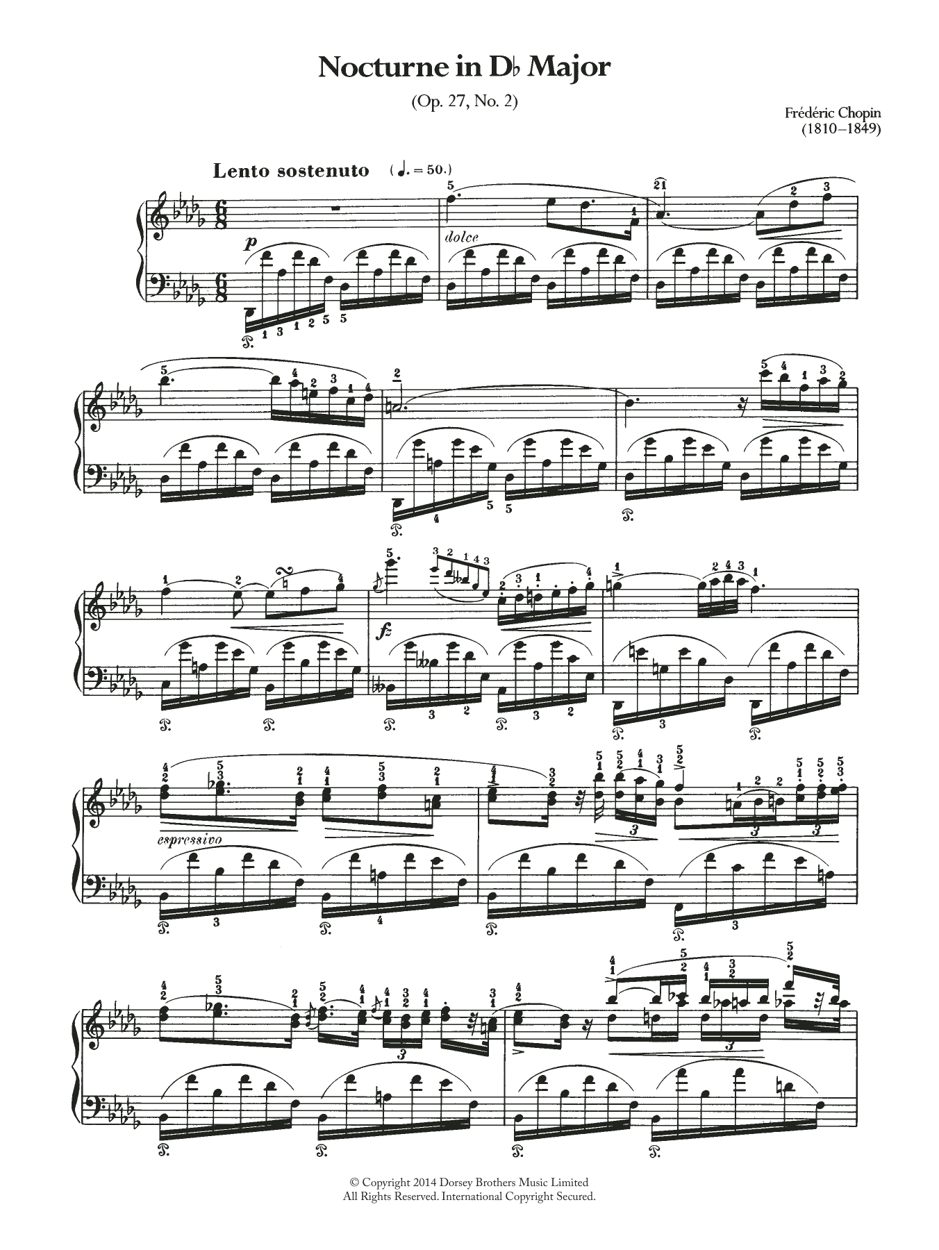 Nocturne in D Flat Major, Op.27 No.2 Sheet Music
