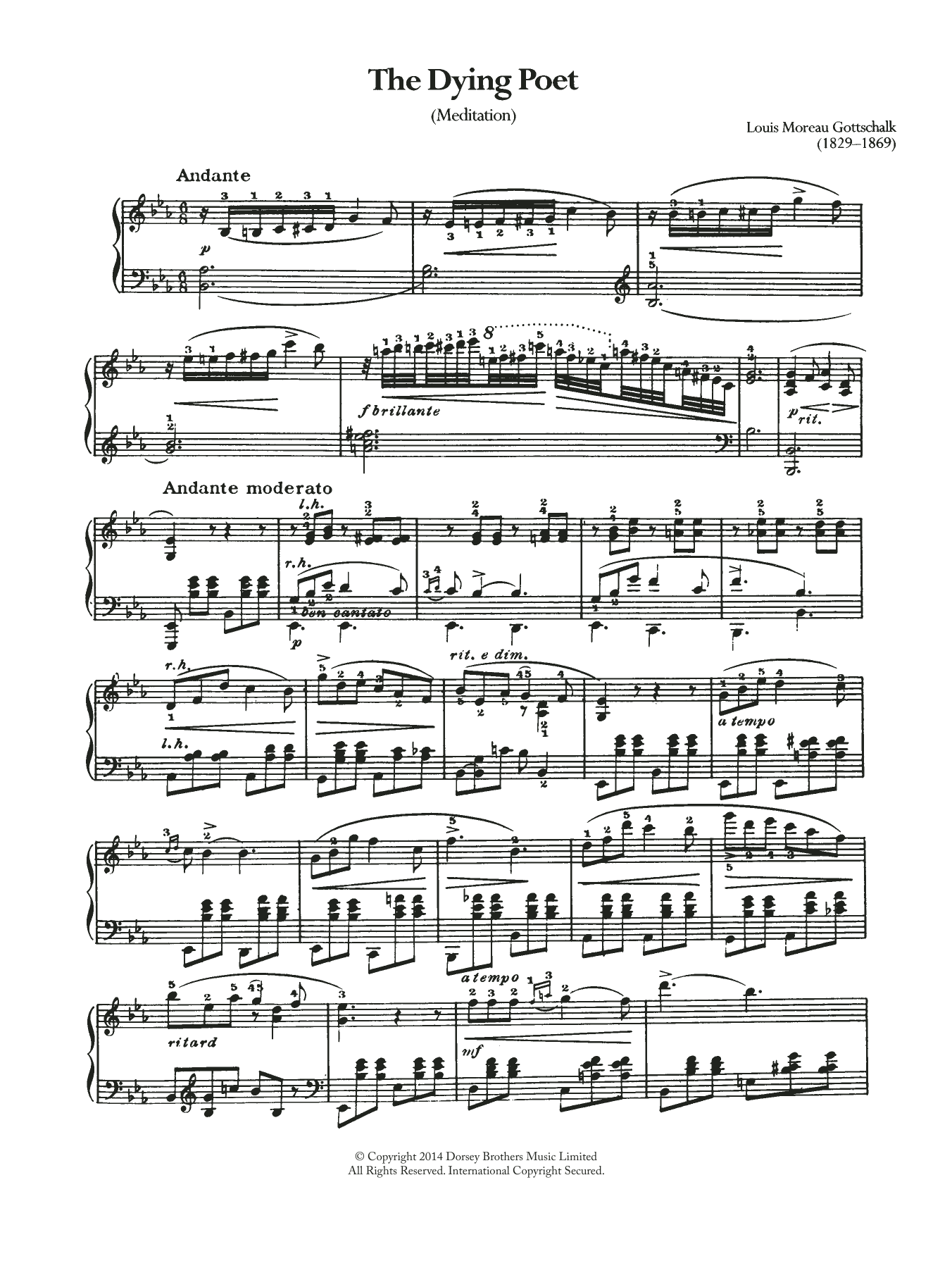 The Dying Poet (Meditation) Sheet Music